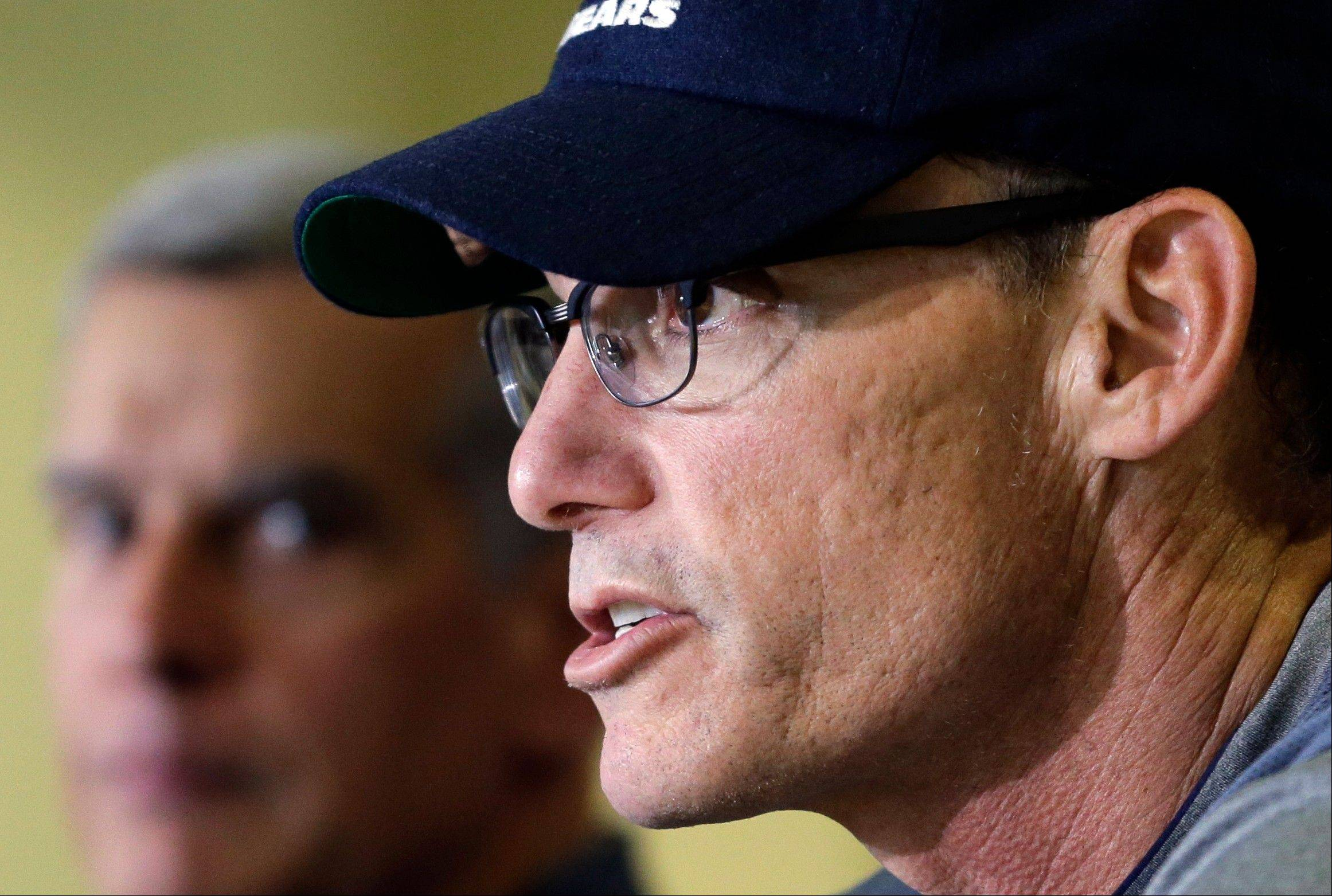Chicago Bears coach Marc Trestman speaks during a news conference as the NFL football team prepares for training camp, Wednesday, July 24, 2013, in Bourbonnais, Ill.