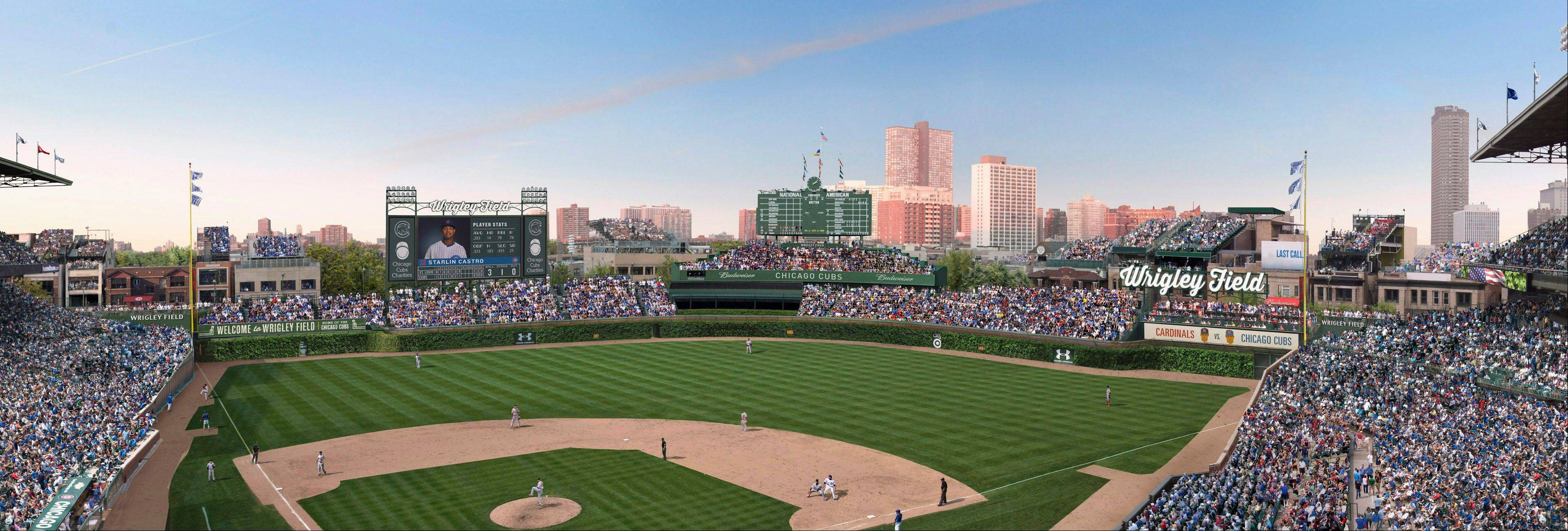 This photo shows an artist rendering provided May 1, 2013 by the Chicago Cubs showing planned renovations at Wrigley Field. On Wednesday, the Chicago City Council aldermen are set voted to approve the proposed renovations at the historic ballpark.