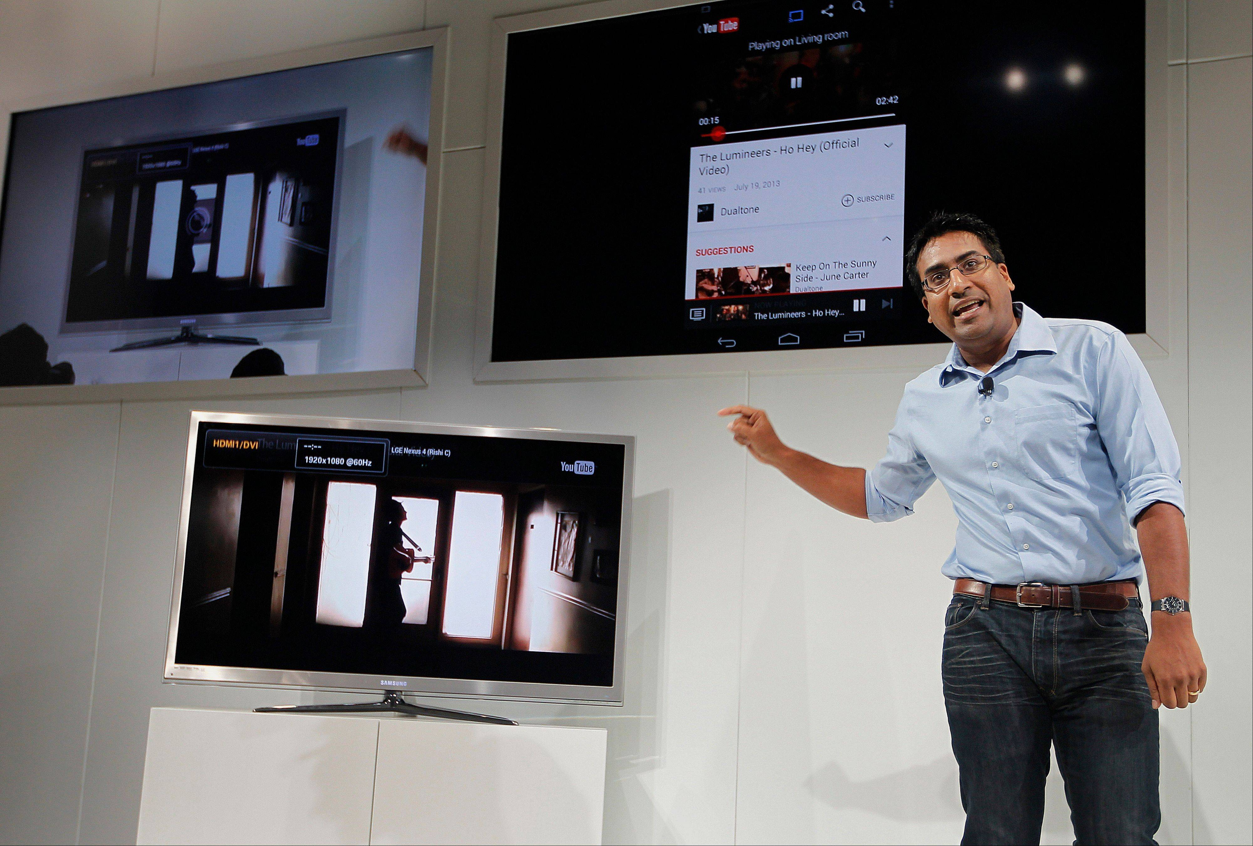 Rishi Chandra, senior product manager for Google Inc., speaks about Google ChromeCast during an event in San Francisco, California, U.S., on Wednesday
