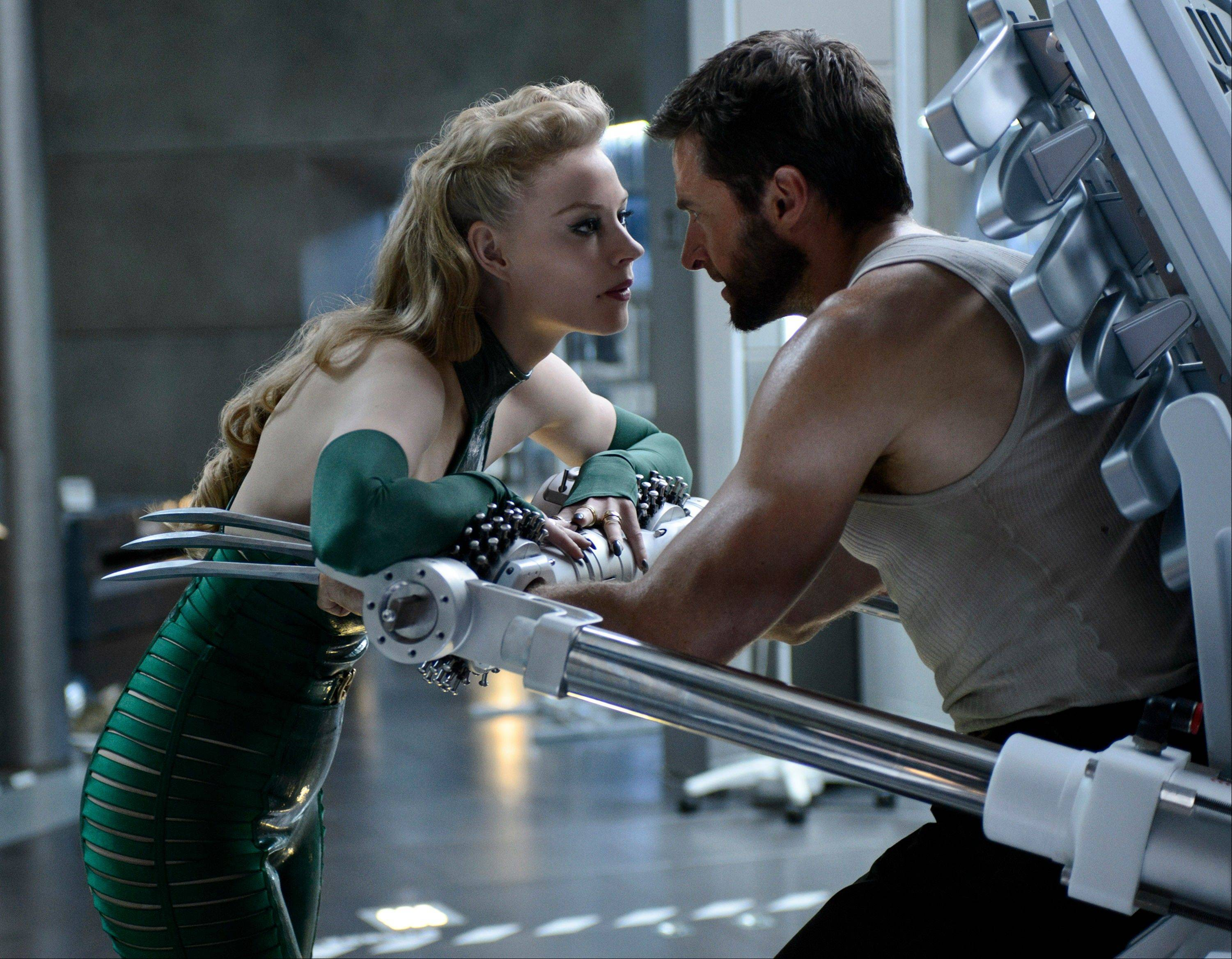 "Logan/Wolverine (Hugh Jackman) faces off against the villainous Viper (Svetlana Khodchenkova) in ""The Wolverine."""
