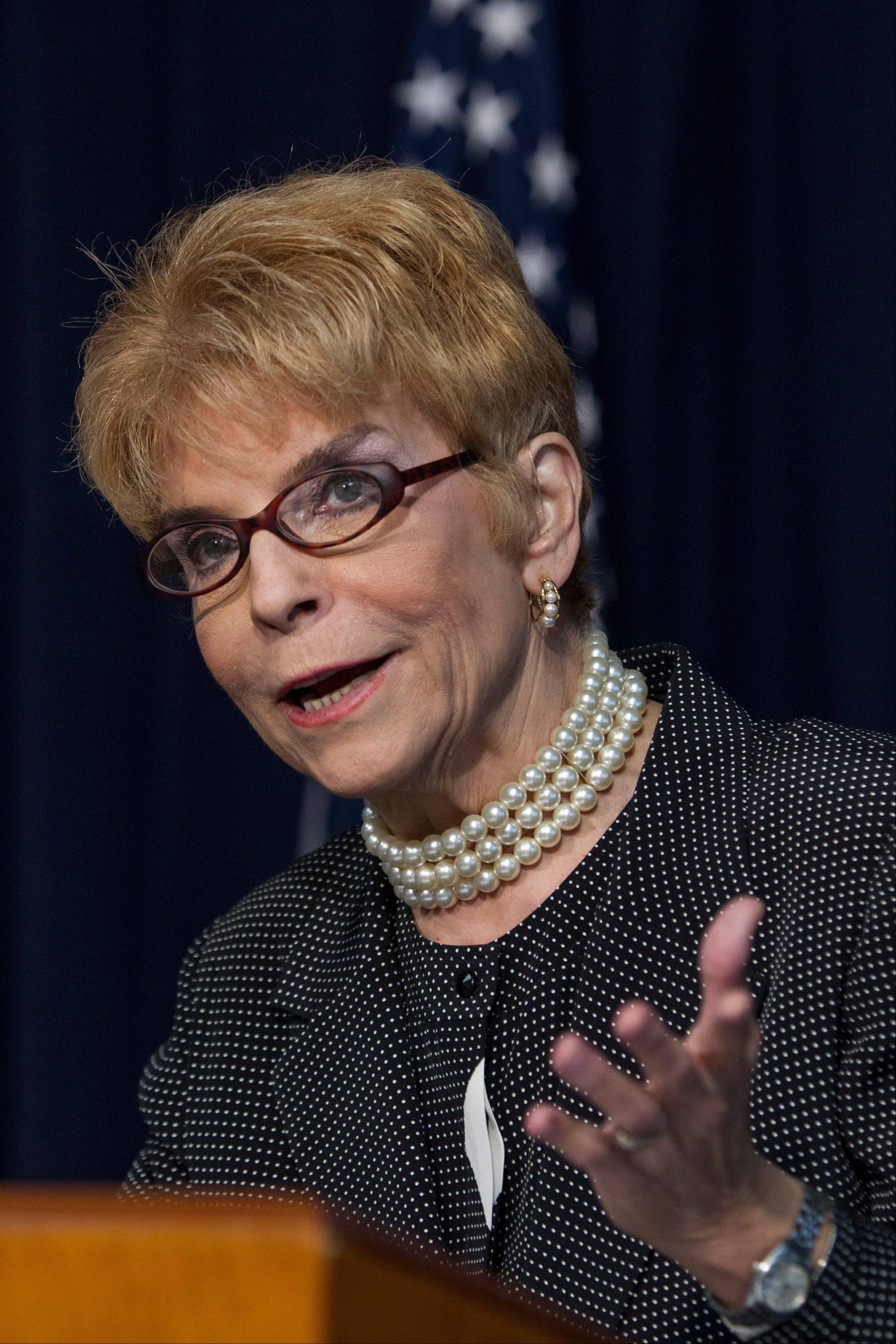 Comptroller Judy Baar Topinka speaks at a news conference Thursday in Chicago,