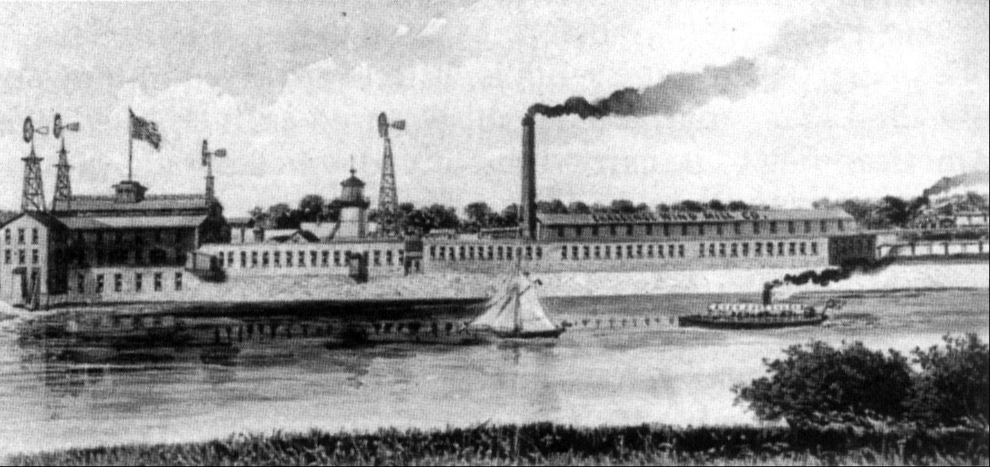 "The Challenge Wind Mill and Feed Mill Co. in 1895, as shown in the book ""John Gustafson's Historic Batavia,"" by Marilyn Robinson and Jeffrey D. Schielke."