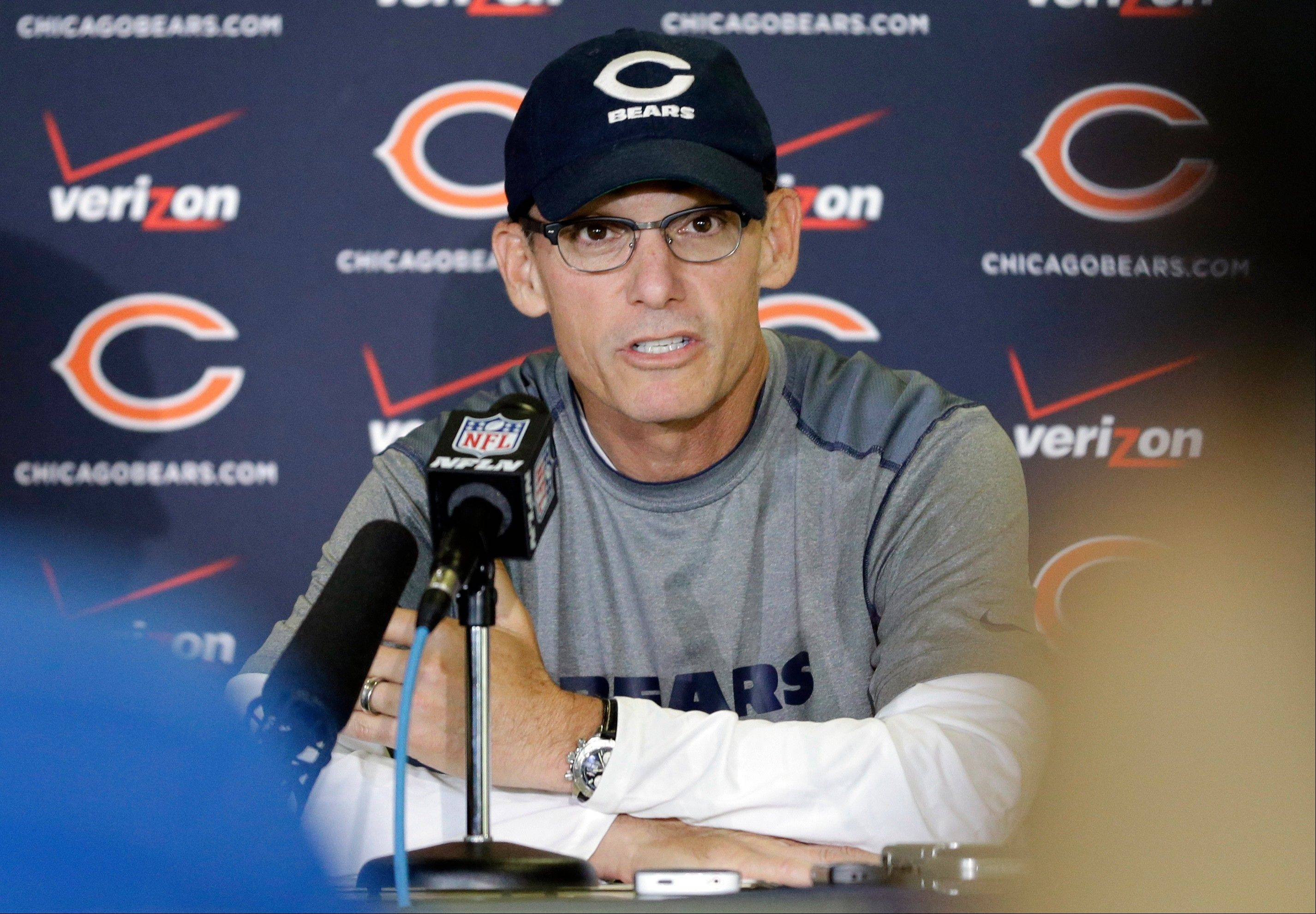 Bears coach Marc Trestman speaks during a news conference in Bourbonnais.