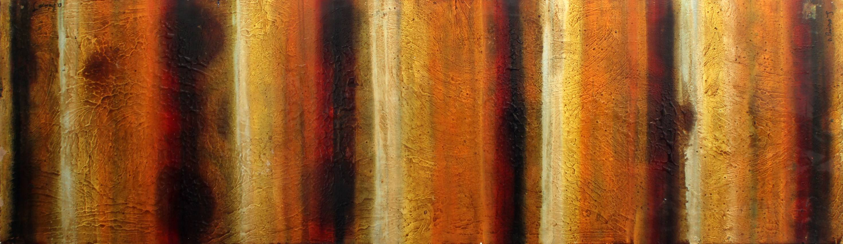 """Desert Heat,"" a 72"" x 36"" mixed media panel by artist Alberto Paniaya, evokes the sensation of a desert, with intensity lines through the light in the middle of the air."