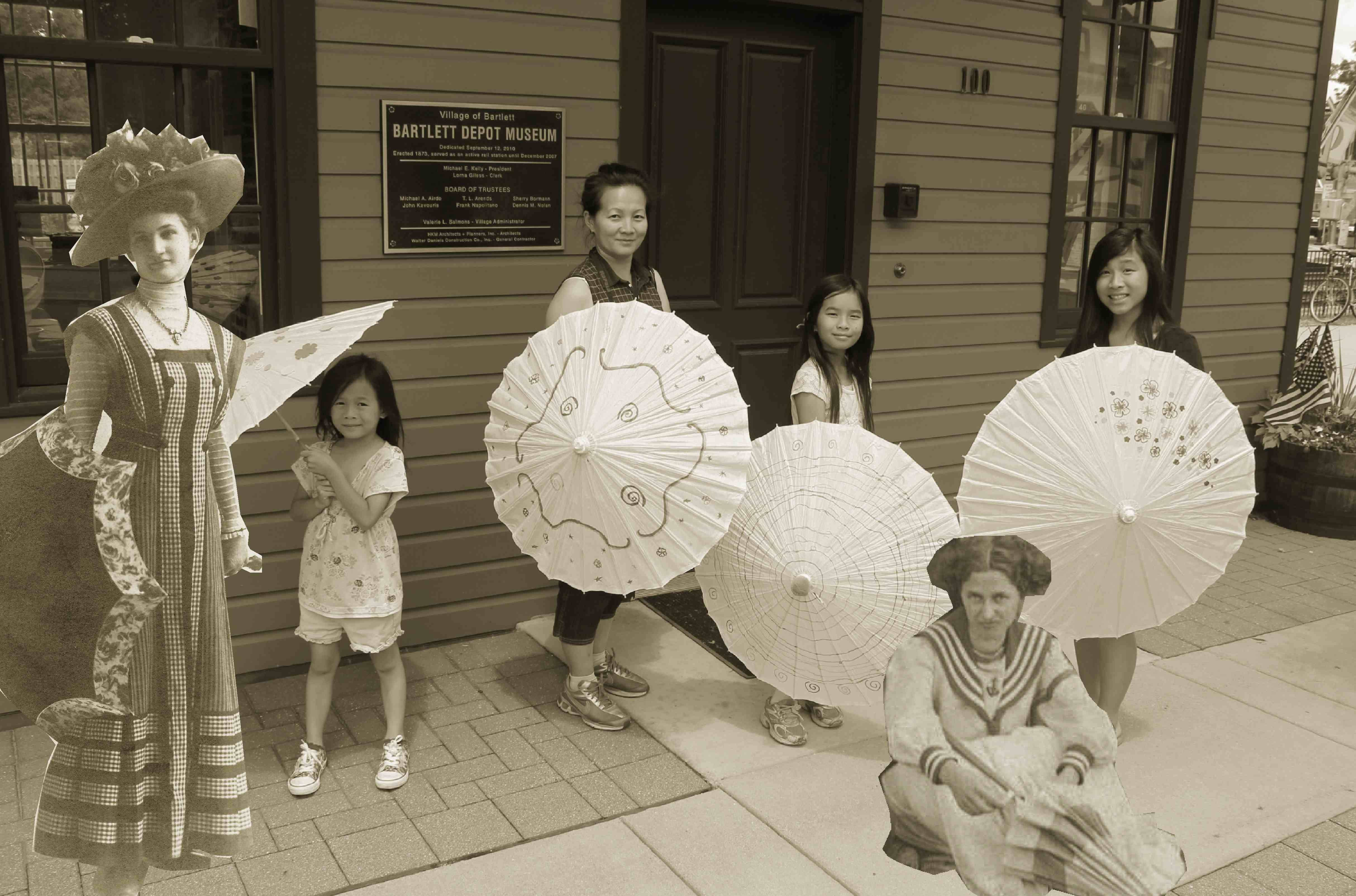 The Yu family of Bartlett shows off their parasols. Thanks to a little photo magic, early Bartlett residents Lucinda Schick Thurnau (1890-1912) and Viola Krumfuss Schult (1896-1985) provided some inspiration!