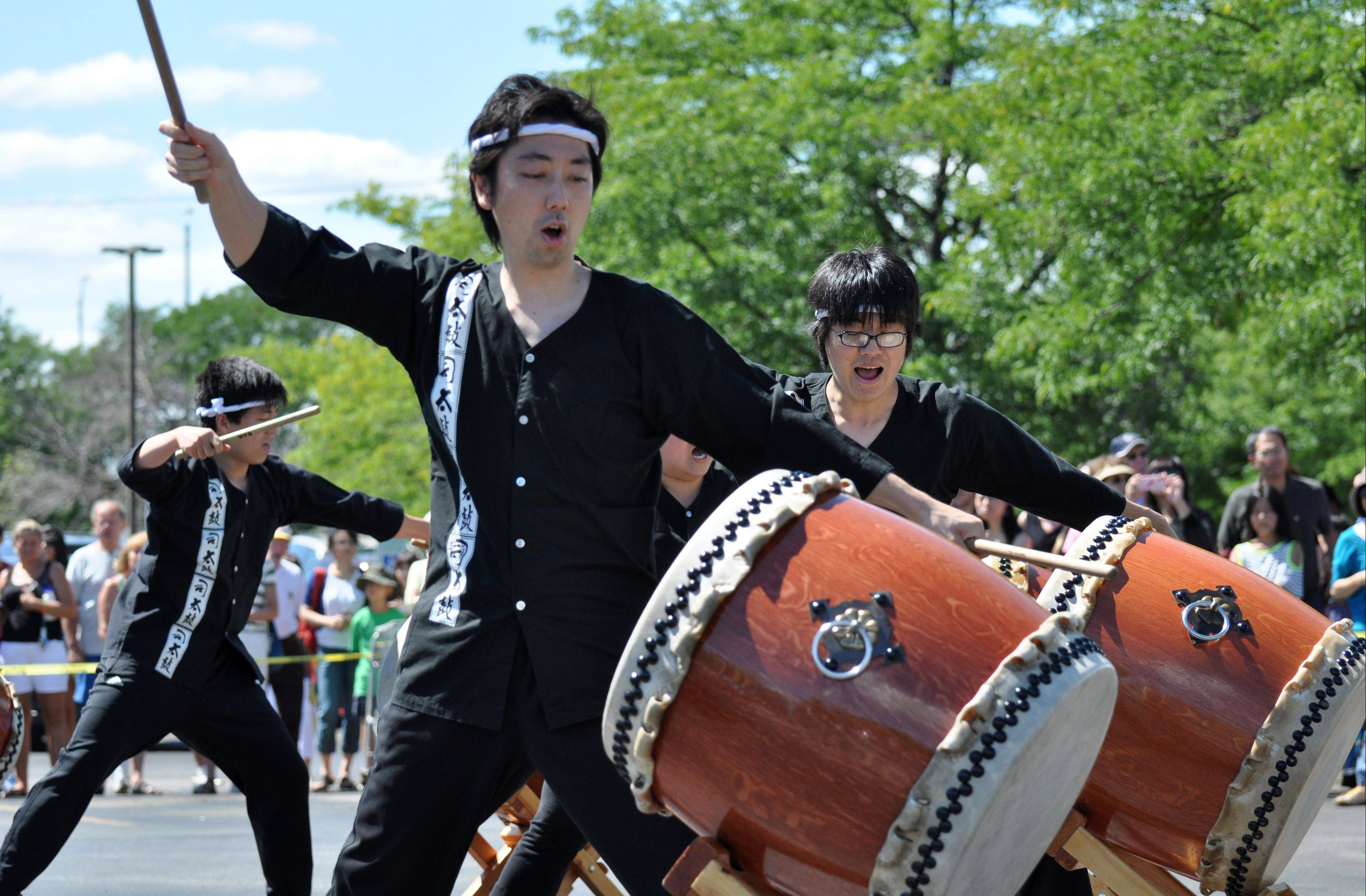 Tsukasa Taiko performs during the Natsu-Matsuri Festival held Saturday at Mitsuwa Marketplace in Arlington Heights.