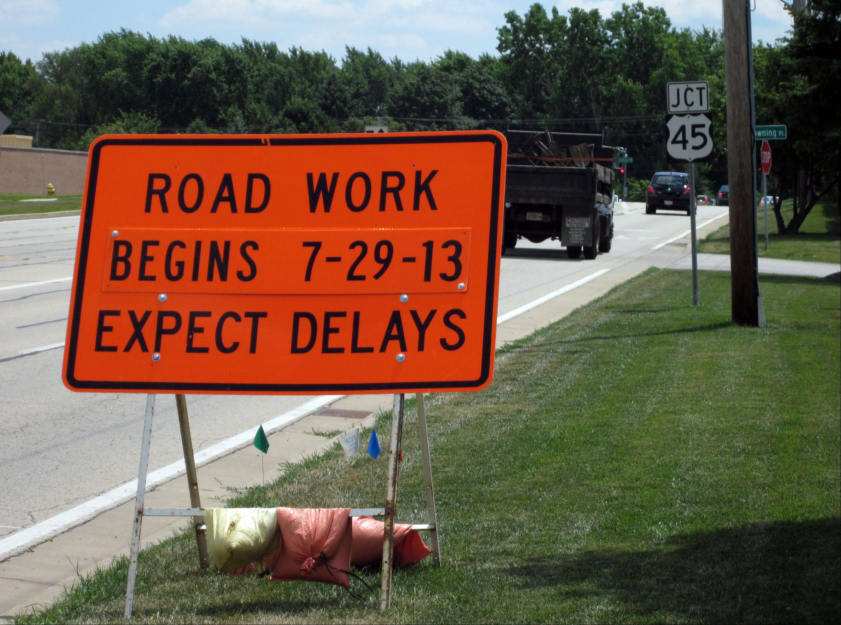 A sign on Butterfield Road in Mundelein alerts motorists to what is expected to be a disruptive Rt. 45 resurfacing project.