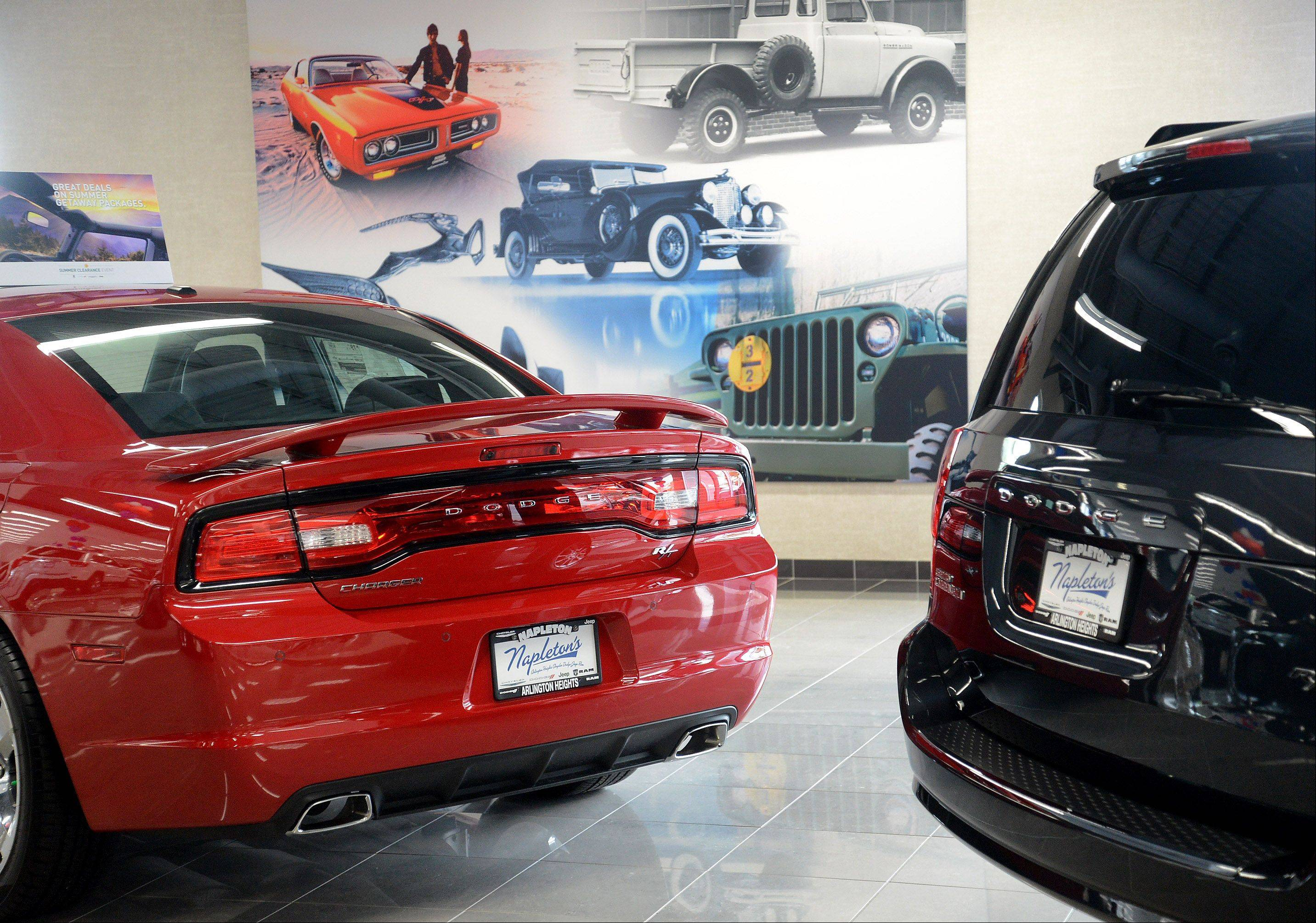 The new showroom at Napleton Chrysler Dodge Jeep RAM is large enough to display 26 new vehicles.