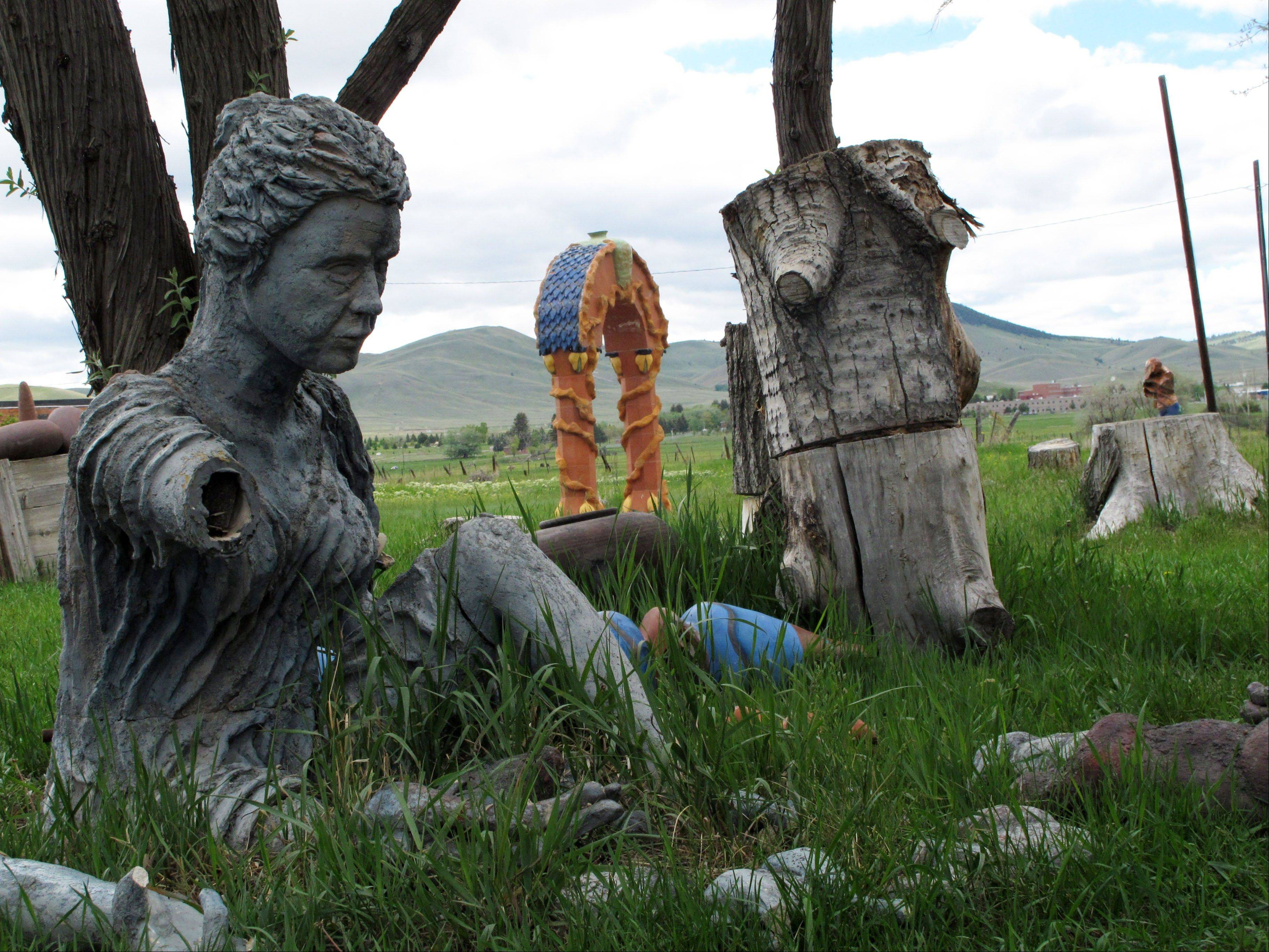 Sculptures are scattered across the 26-acre grounds of the Archie Bray Foundation for the Ceramic Arts near Helena, Mont. The foundation offers artist residencies and free self-guided walking tours on the grounds of a former brick factory.