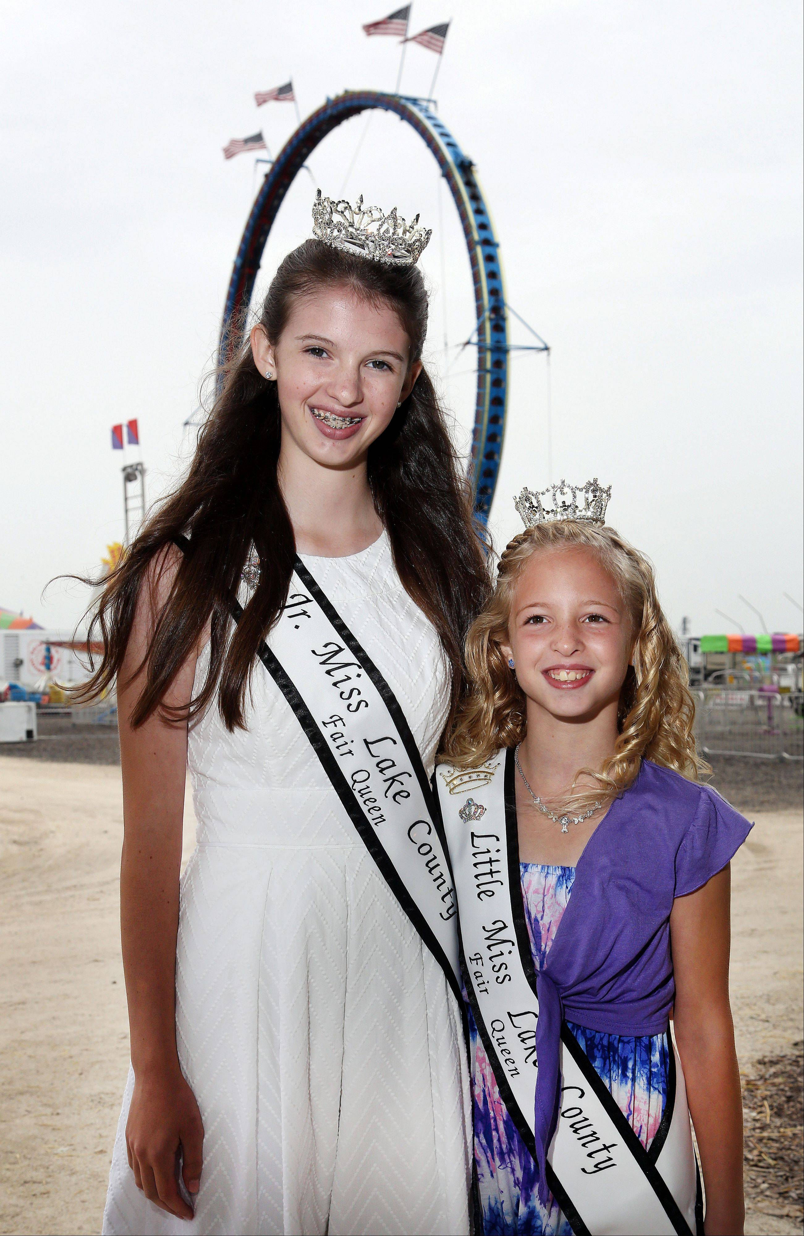 Jr. Miss Lake County Charlotte Roberts, 13, of Grayslake and Little Miss Lake County Victoria Weaver, 8, of Mundelein.