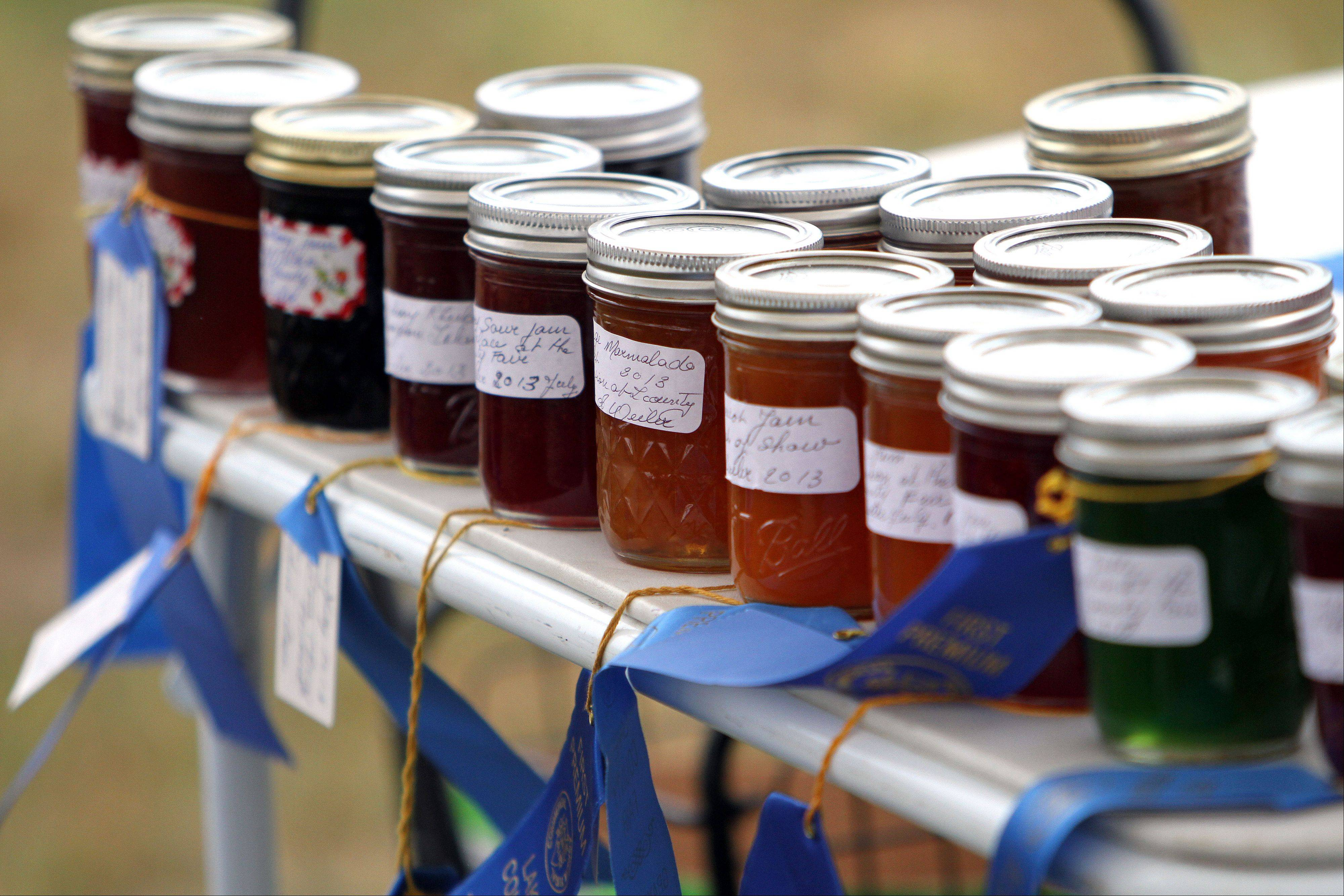 Award-winning marmalade is on display in the horse judging area.