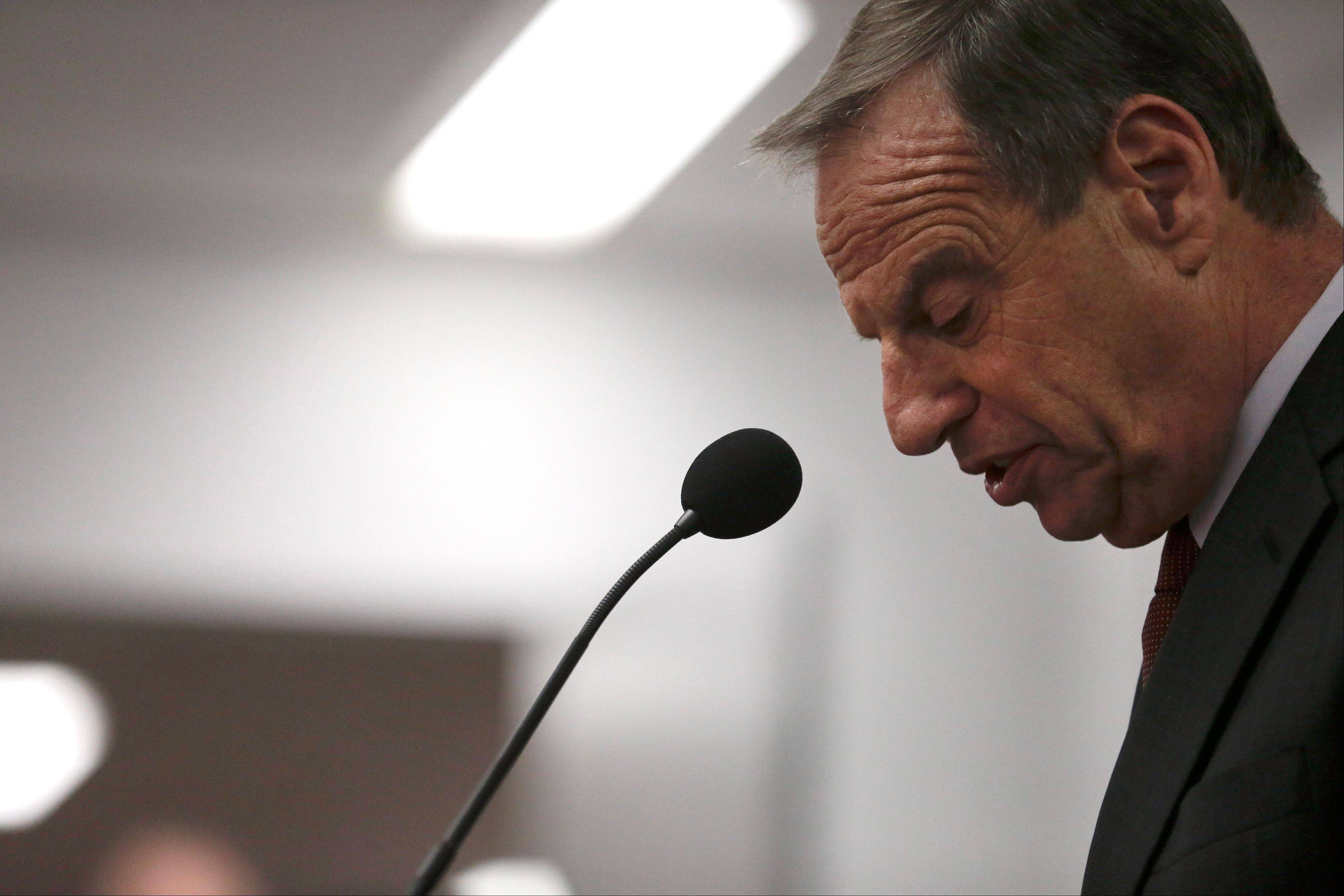 San Diego Mayor Bob Filner speaks Friday during a news conference at city hall.
