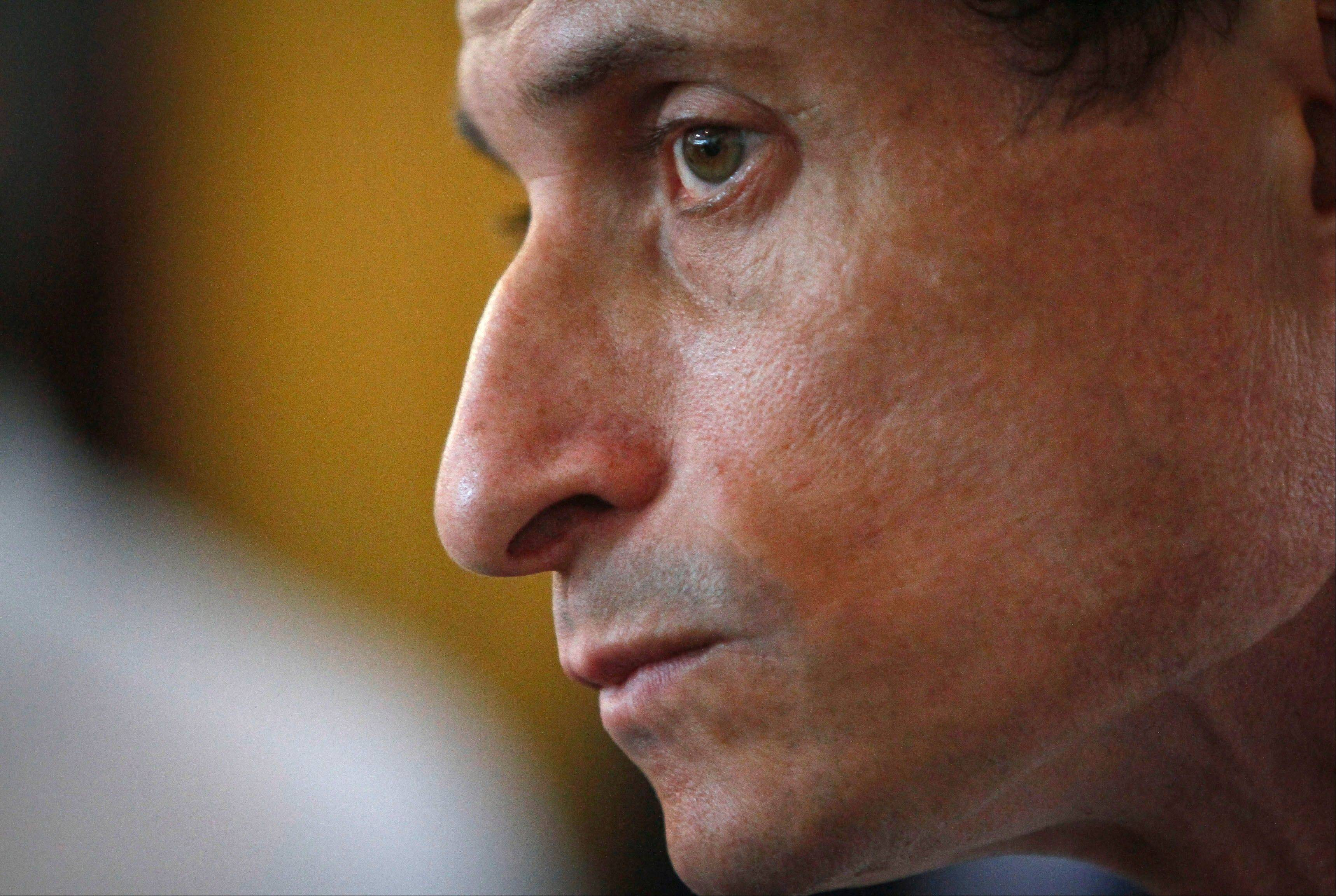 Anthony Weiner, New York mayoral candidate, listens during a news conference, Thursday in New York.