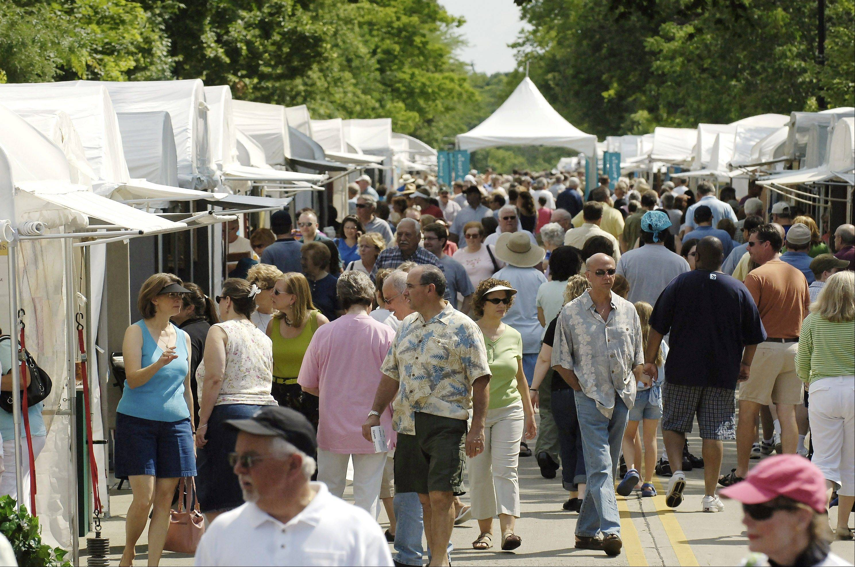 The Geneva Arts Fair on Third Street in downtown Geneva typically draws a crowd of more than 20,000 over the weekend, organizers say. About 160 artists are expected at this weekend's show.