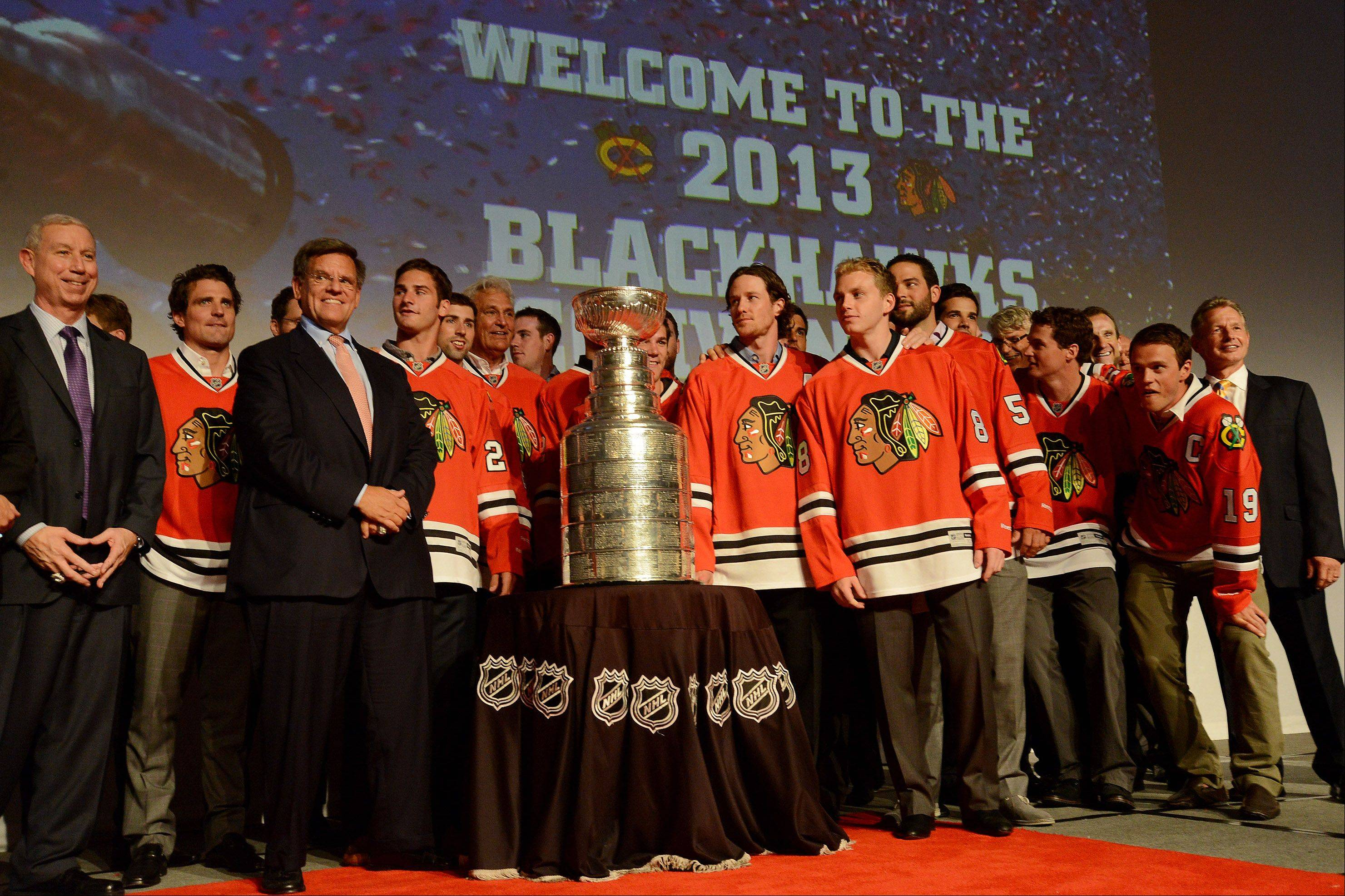 A team photo was taken with the Stanley Cup.