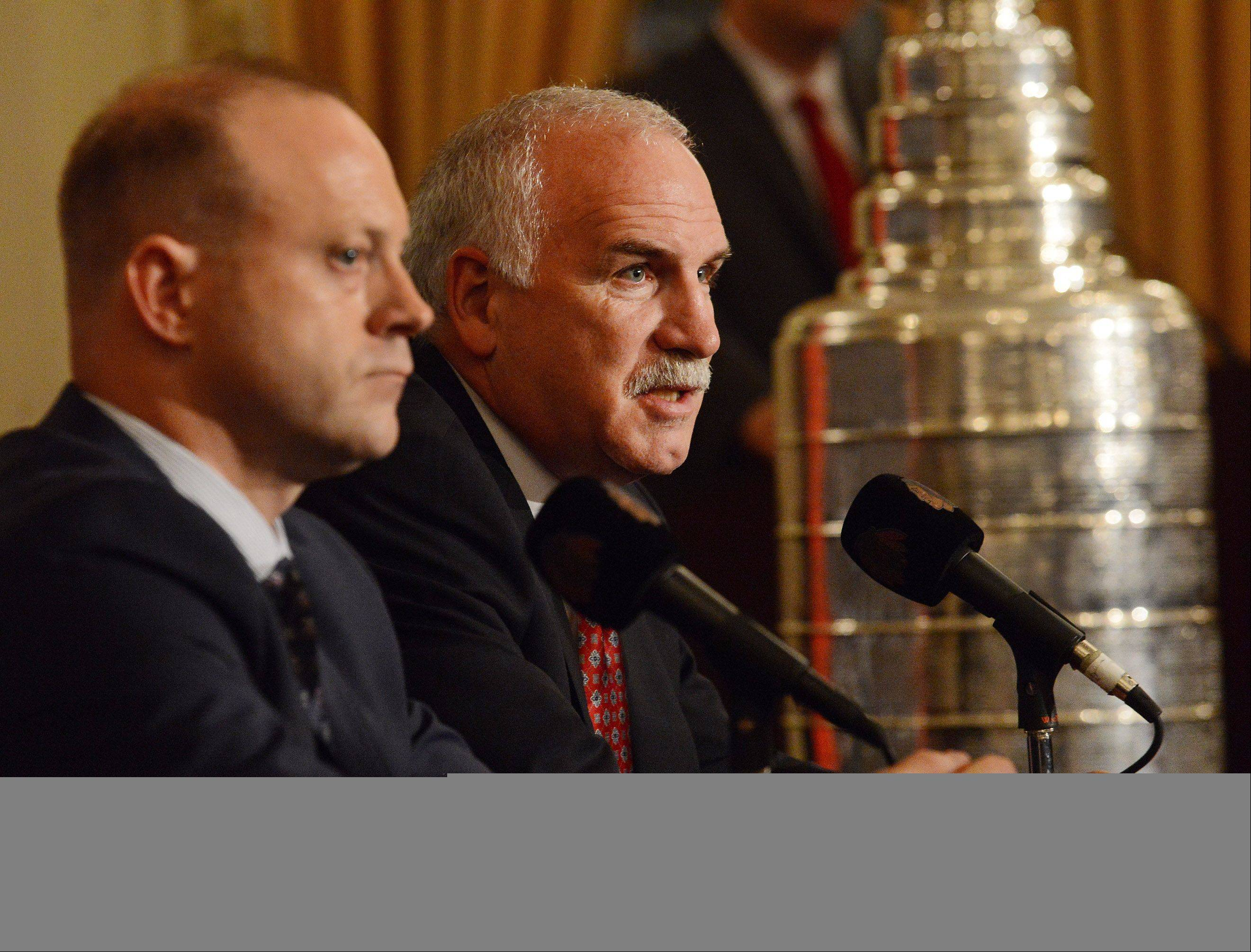 Coach Joel Quenneville and General Manager Stan Bowman discuss Quenneville's 3-year contract extension prior to the Sixth annual Blackhawks Convention.
