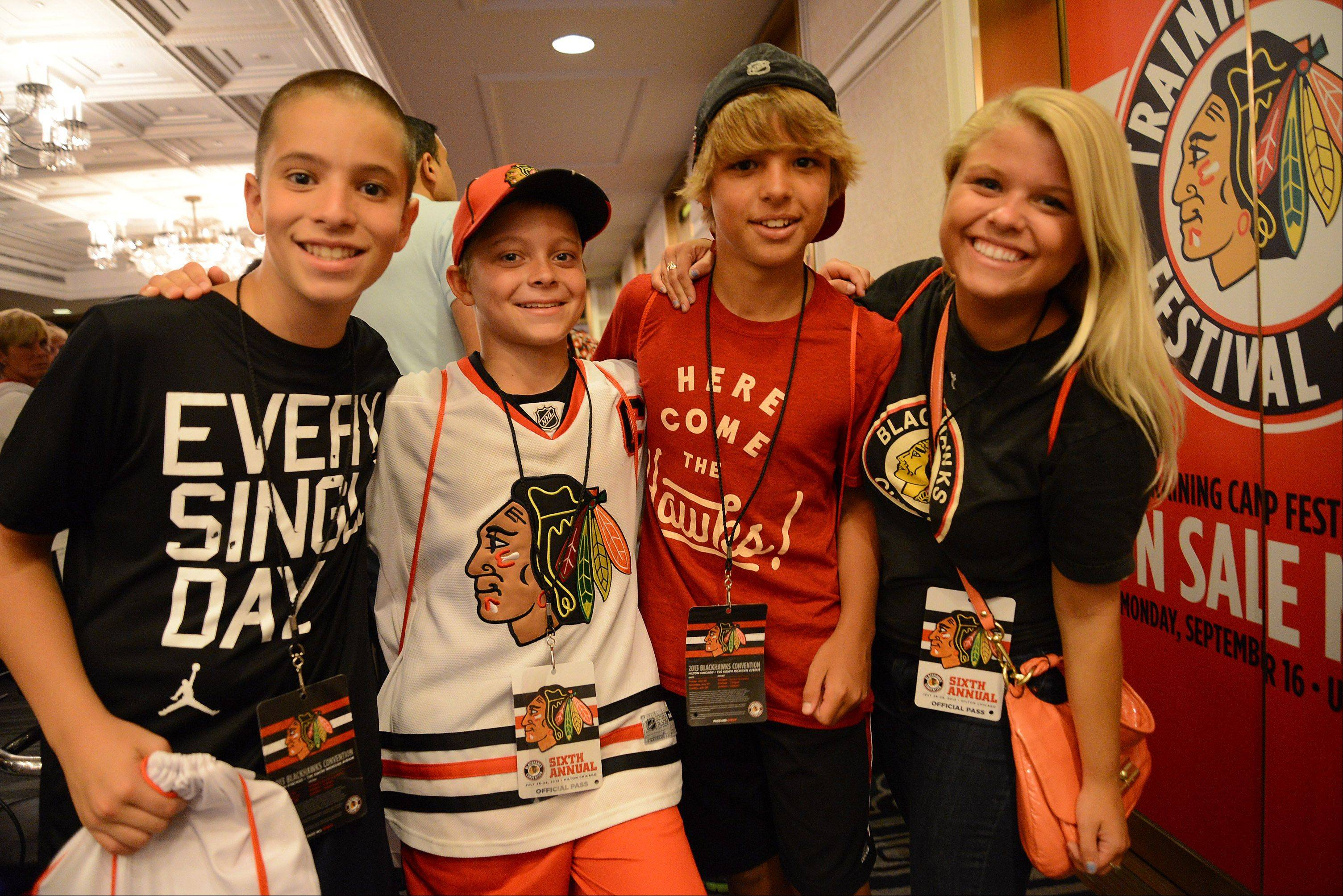 Attending their fifth Blackhawks Convention are Sam Bryant, Kyle Junkunz, Joey Massarelli and Paige Massarelli, all from Libertyville.