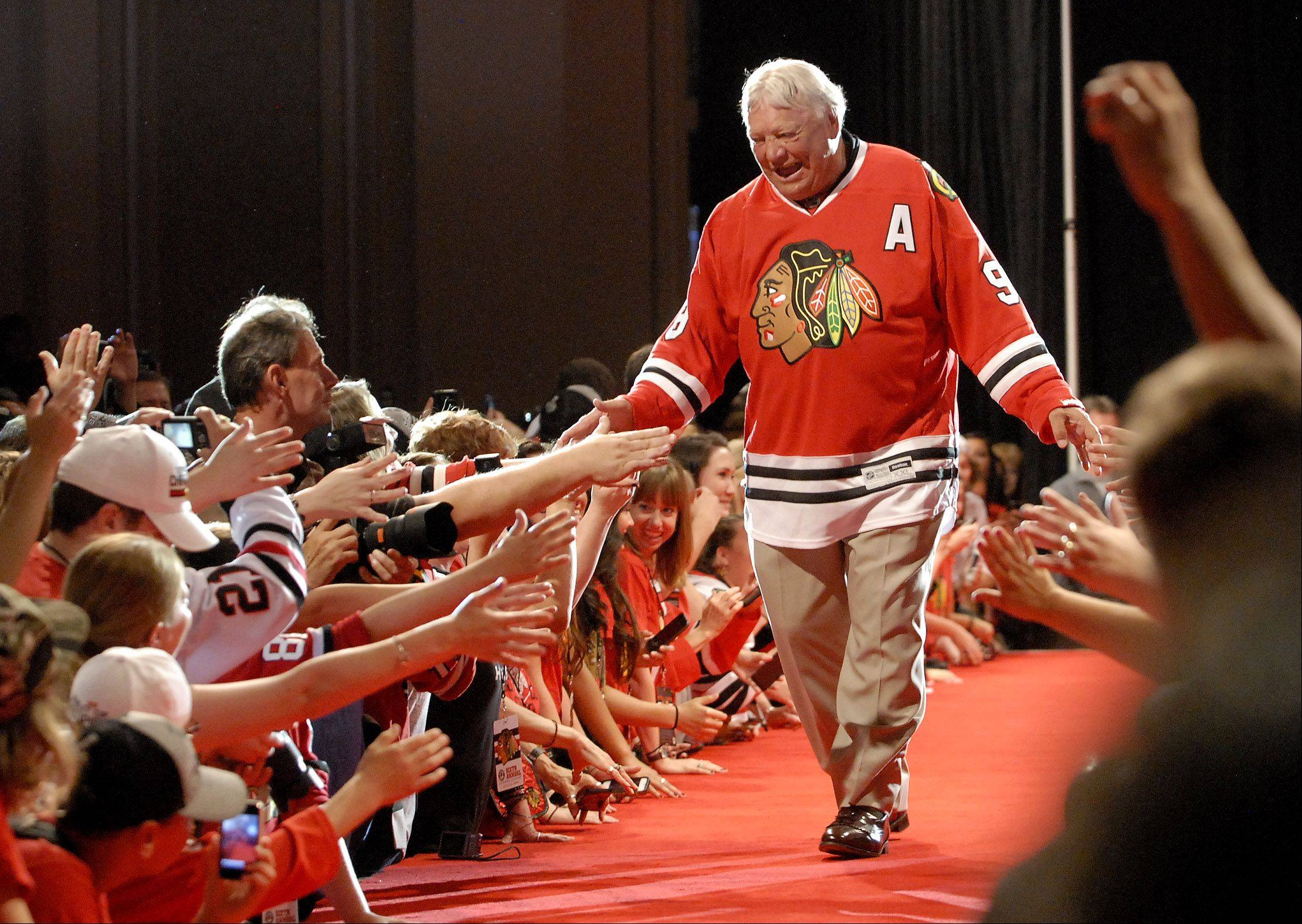 Blackhawk legend Bobby Hull is introduced.