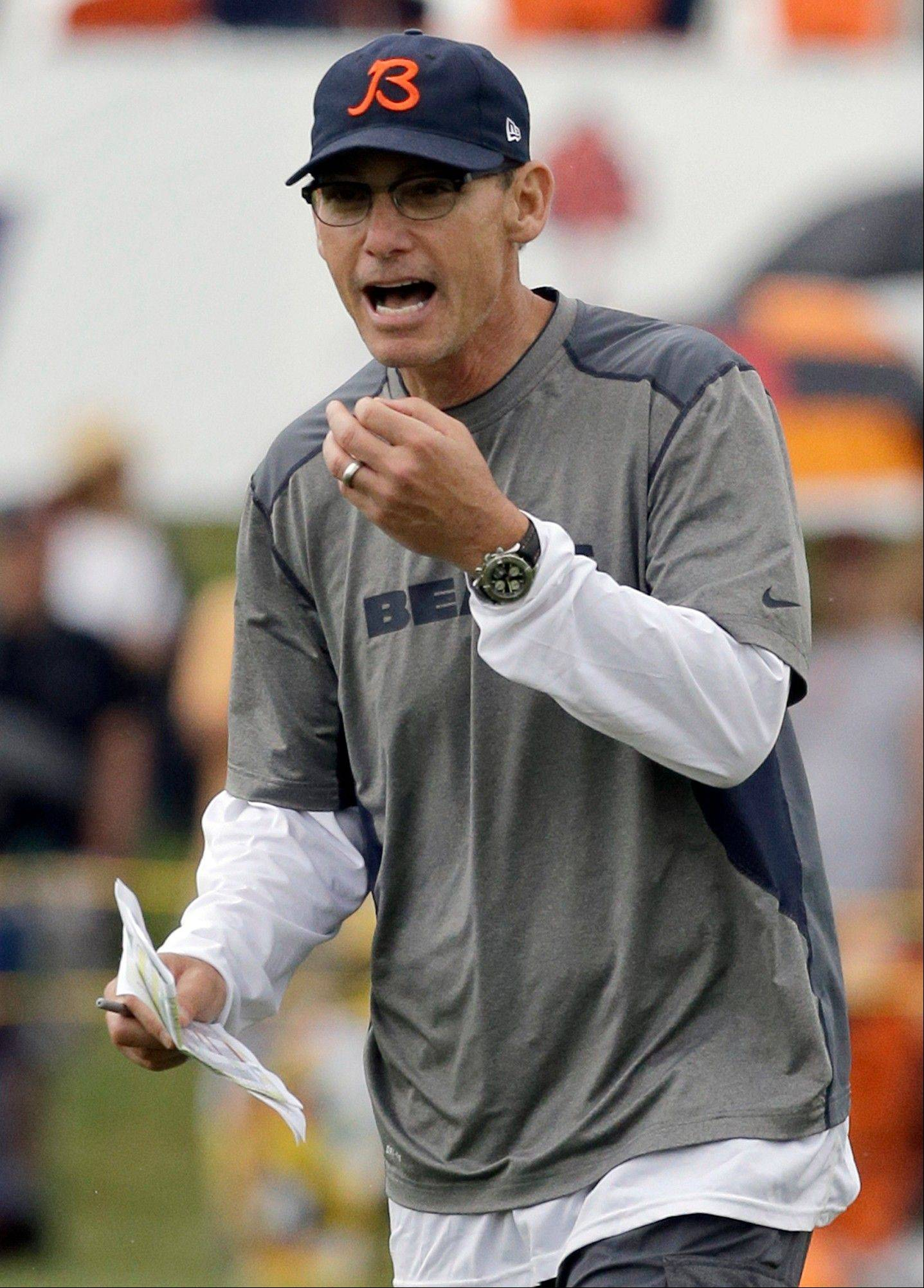 Chicago Bears head coach Marc Trestman yells to his team.