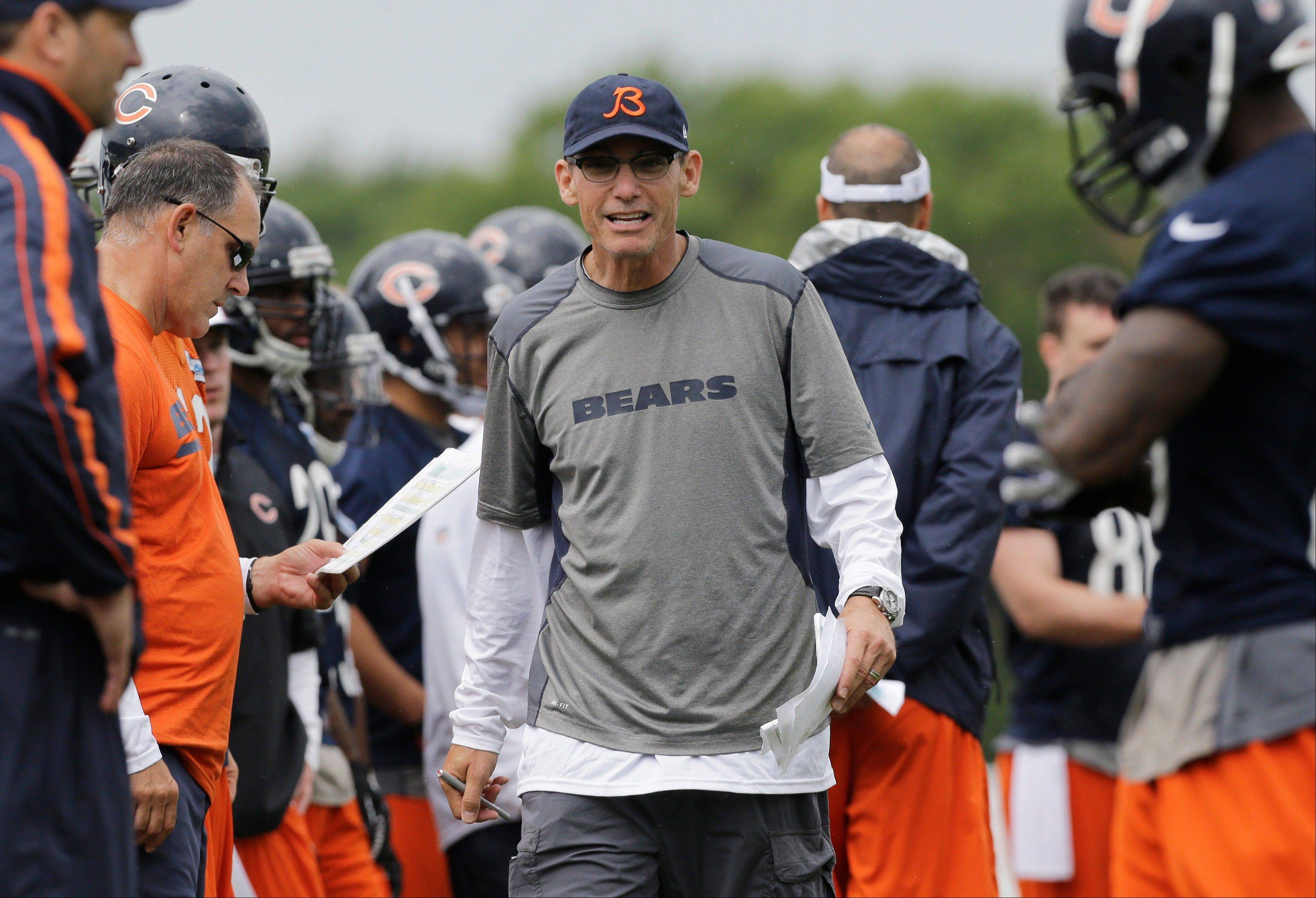 Chicago Bears head coach Marc Trestman talks to his team.