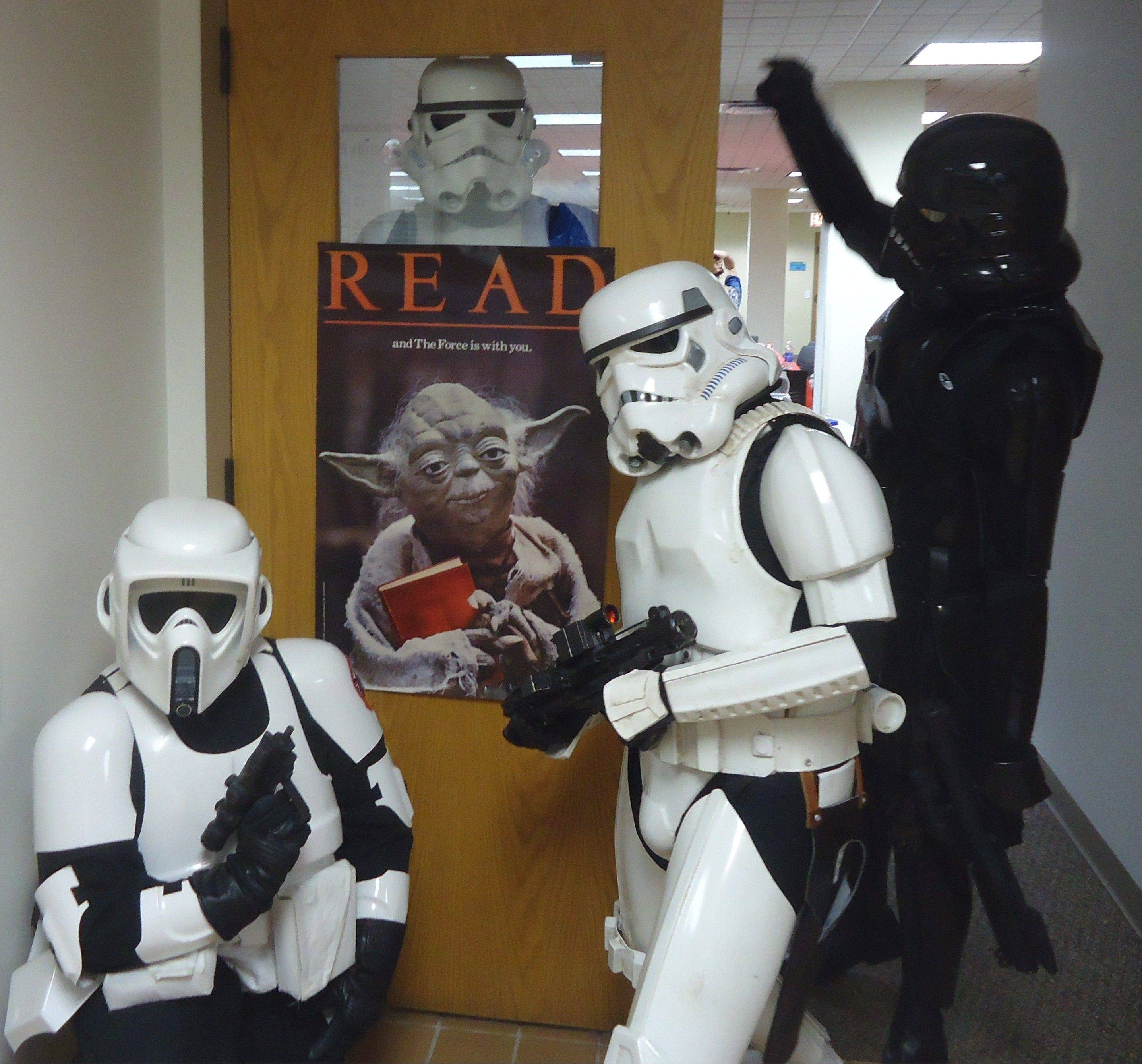 Members of the 501st Midwest Garrison Legion arrive to talk with the guests and pose for photos.