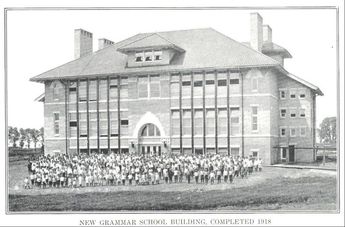 Photo courtesy of MooseheartThe Grammar School was completed in 1918. It was turned into offices for the physical plant and construction in 1954, when a new school opened.
