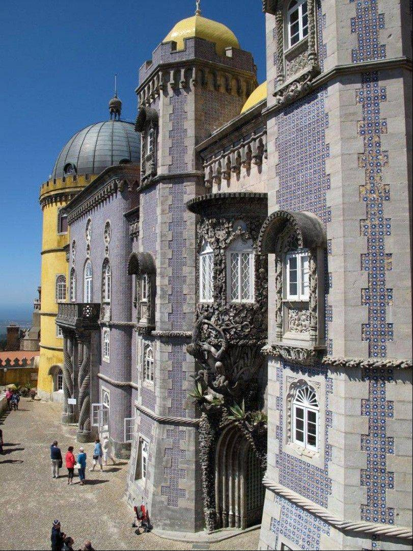 The colorful facade of Pena Palace in Sintra, Portugal.
