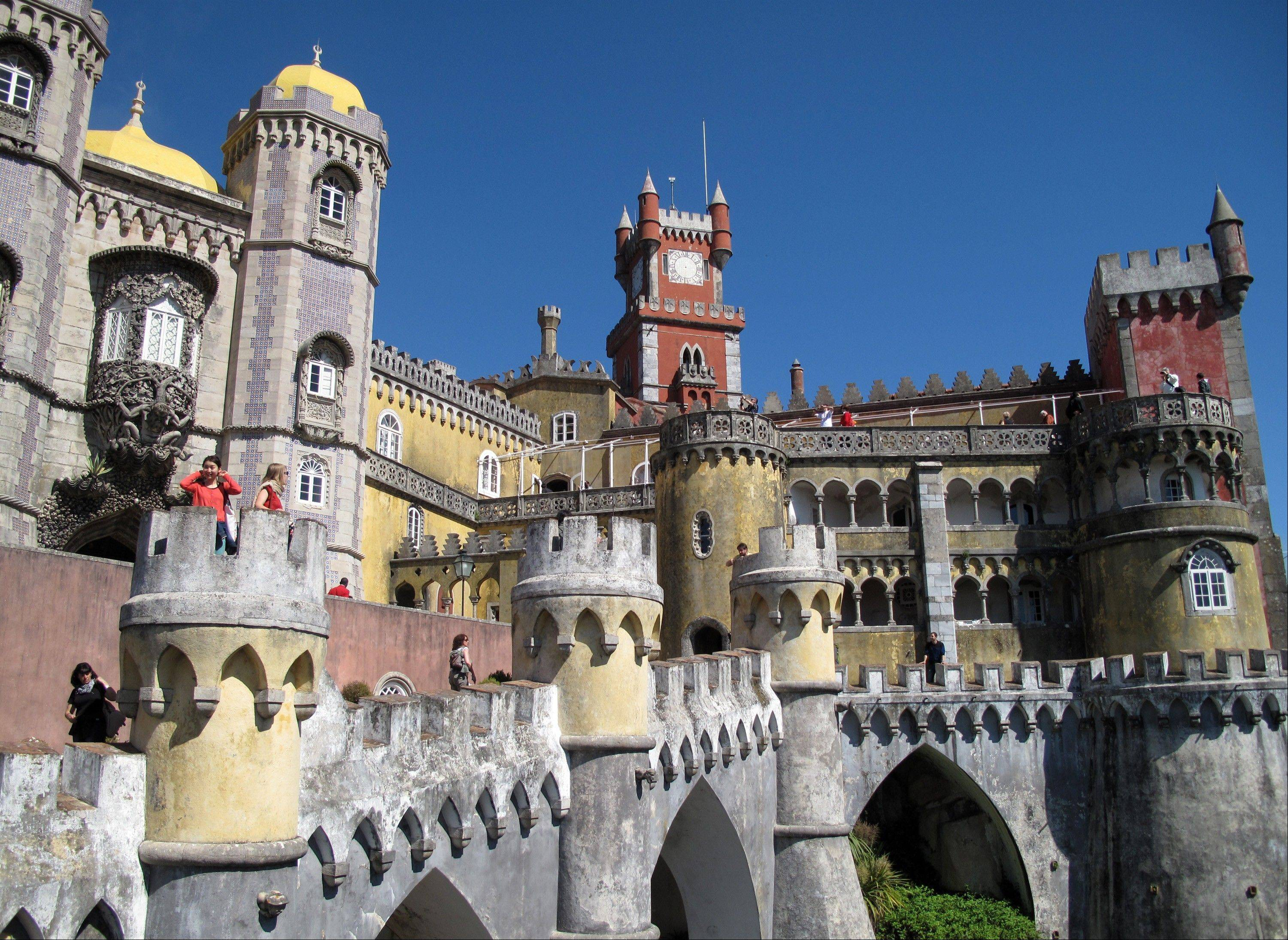 The colorful facade of Pena Palace in Sintra.