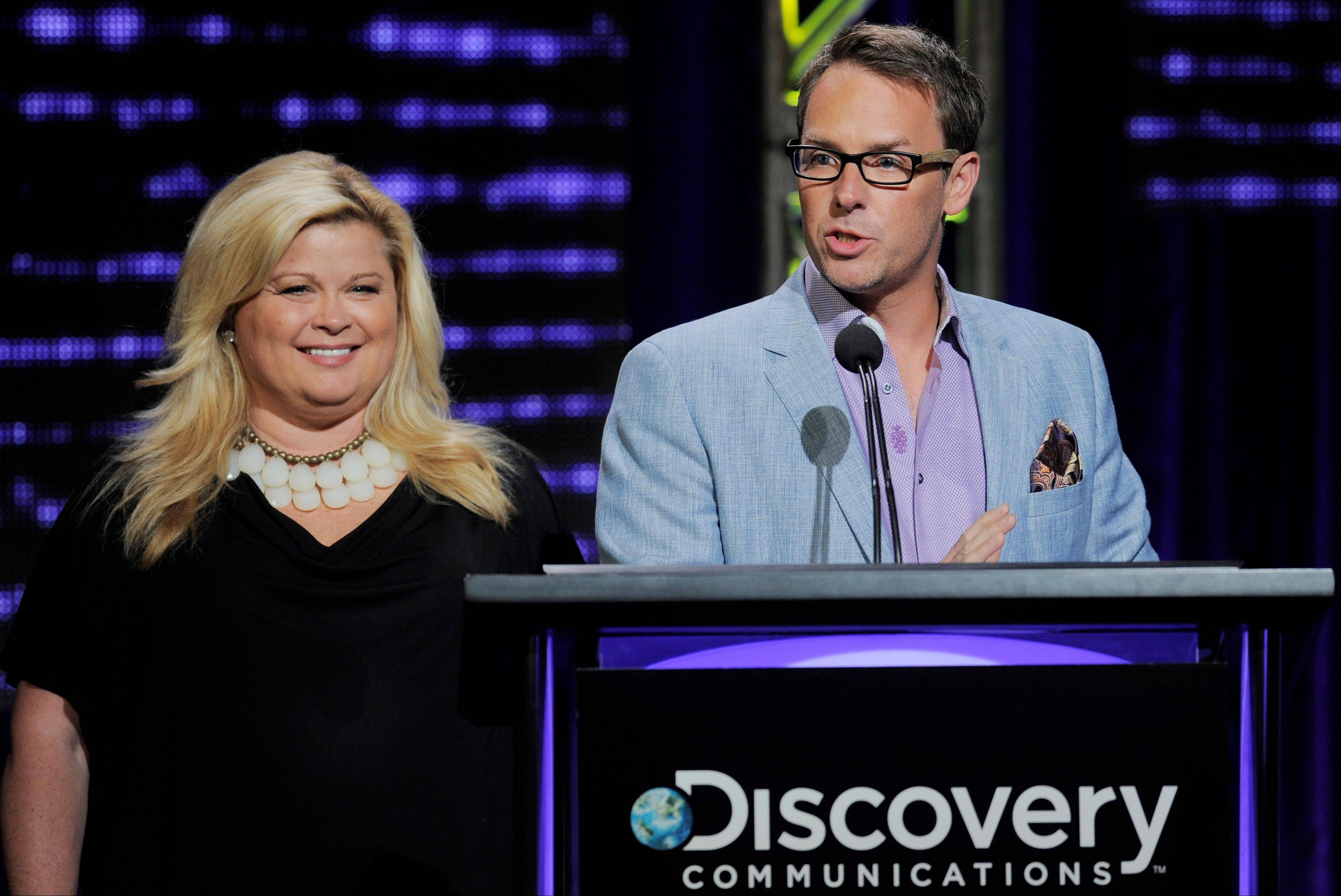 Sheri Salata, left, and Erik Logan, co-presidents of OWN address reporters during the network's Summer 2012 TCA Presentation at the Beverly Hilton in Beverly Hills, Calif.