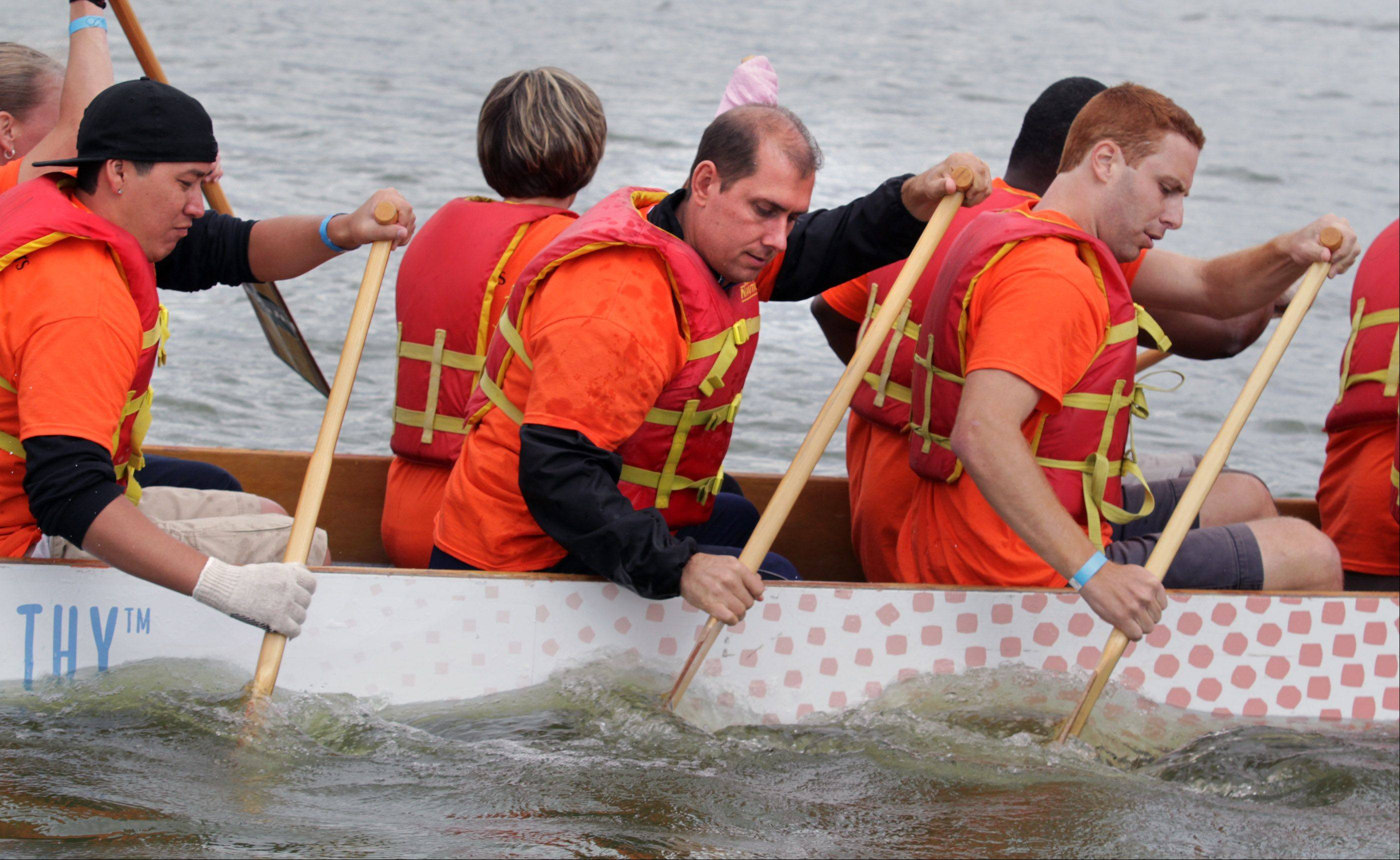 Jed Fortuna of Carol Stream, center, rows on the team for Smith Medical Partners in Wood Dale during the Walgreens Chicago International Dragon Boat Festival in Arlington Heights on Saturday.