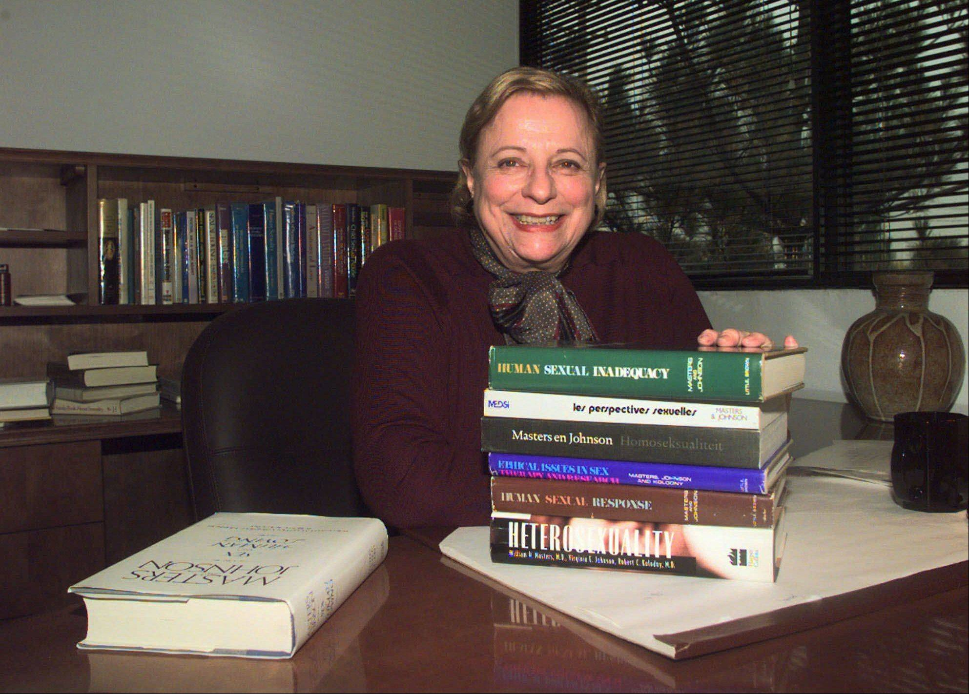 Virgina Masters Johnson in her office at the Virginia Johnson Masters Learning Center in Creve Coeur, Mo., with some of the 19 publications that she has written or co-authored.
