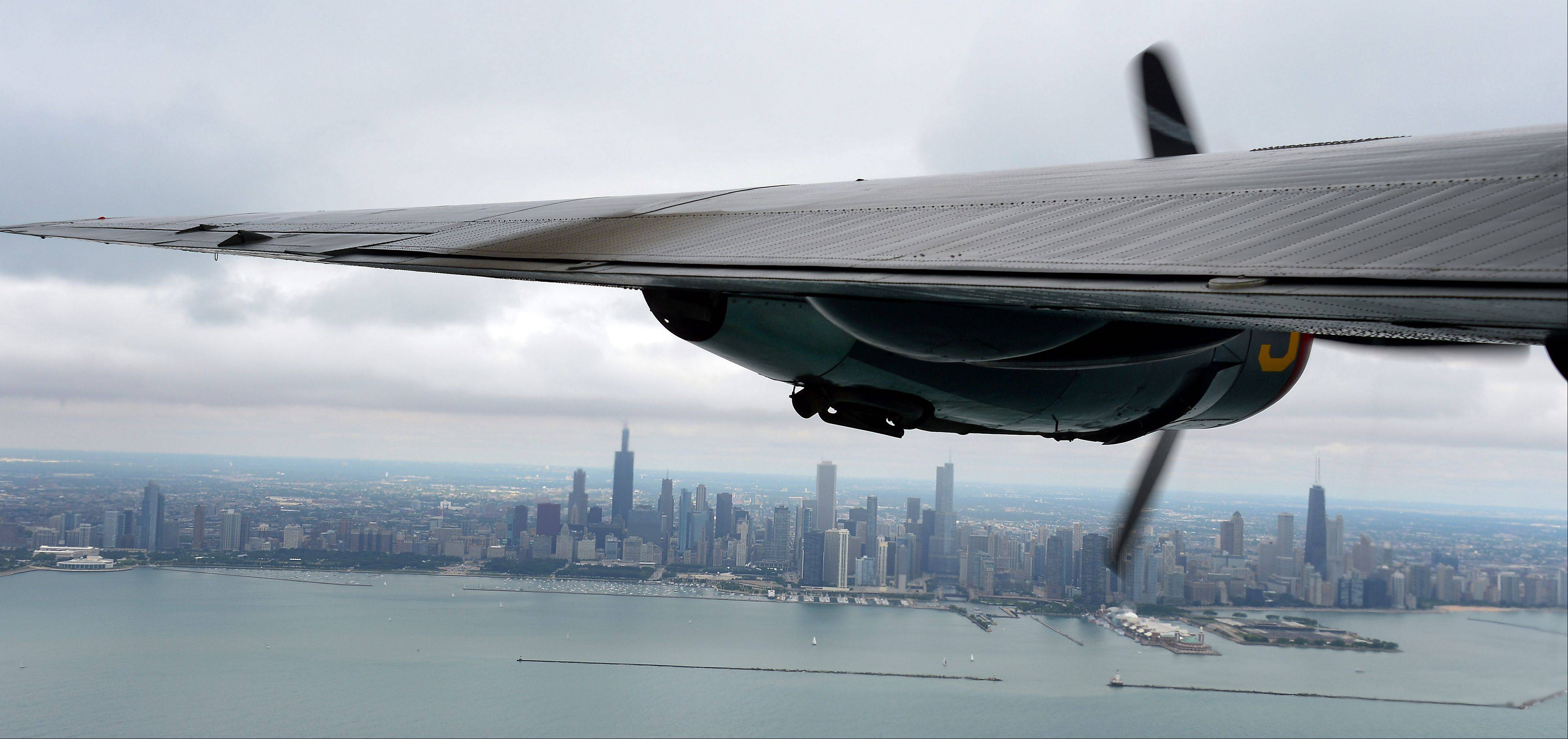 View of Chicago from the B-24 Liberator which landed at Chicago Executive Airport on Saturday as part of the 2013 Wings of Freedom Tour.