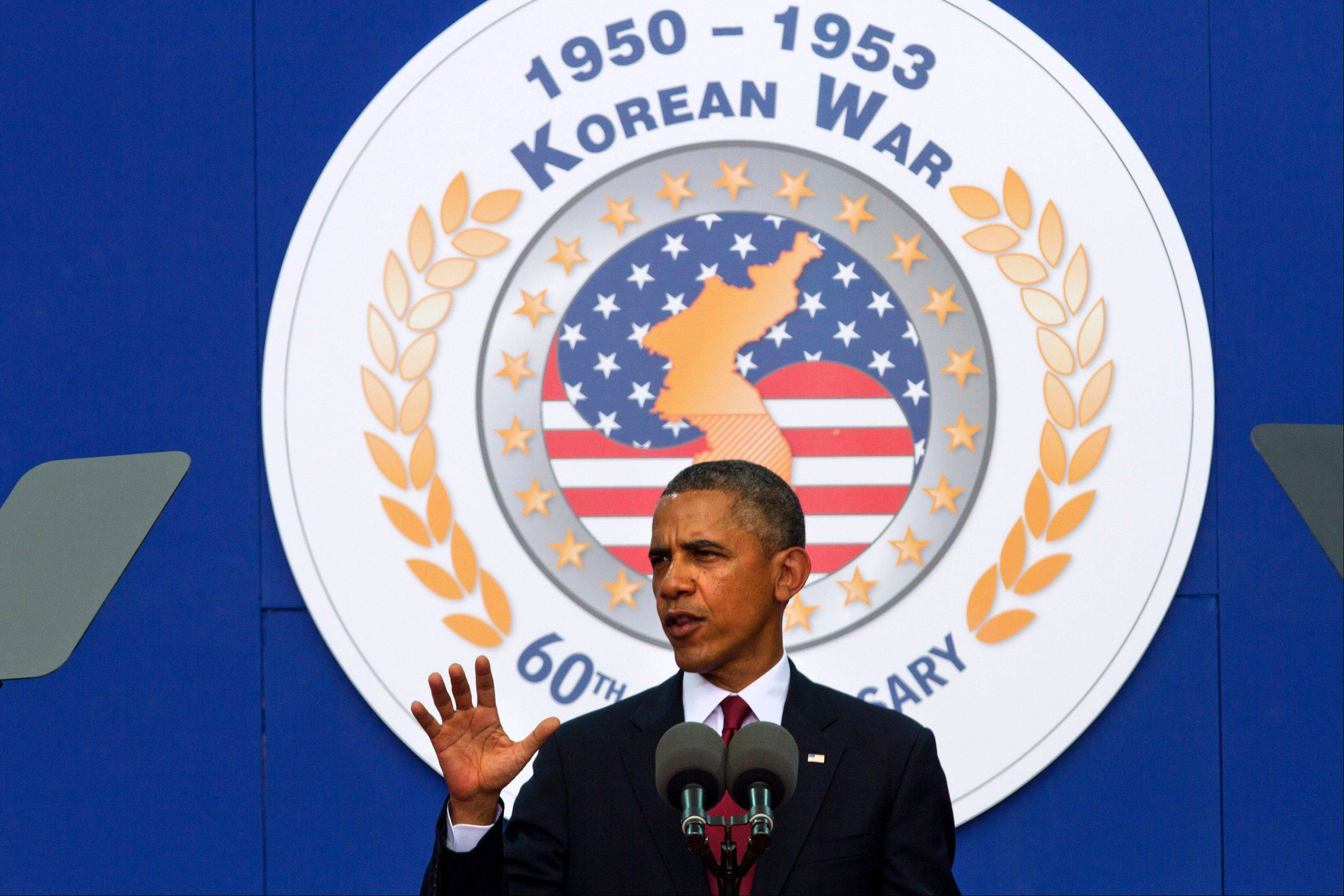 "Associated PressPresident Barack Obama speaks on occasion of the 60th anniversary of the end of the Korean War at a commemorative ceremony near the Korean War Veterans Memorial on the National Mall in Washington Saturday, July 27. Obama on Saturday appealed to Americans to pause ""in our hurried lives"" and let these veterans ""carry us back to the days of their youth and let us be awed by their shining deeds. Listen closely and hear their story of a generation."""