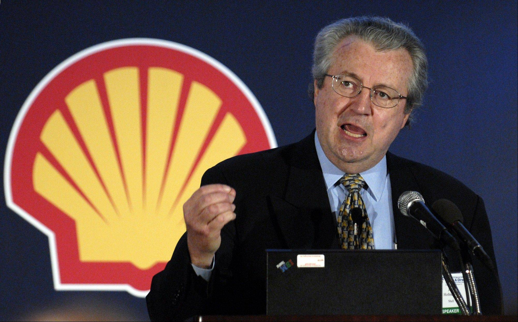 In this Aug. 22, 2006, file photo, then-Shell Oil Co. president John Hofmeister addresses a conference to discuss the protection of and potential threats to national and global critical infrastructures in Washington. In a recent interview with AP, Hofmeister says oil and gas companies often do a terrible job at communicating.