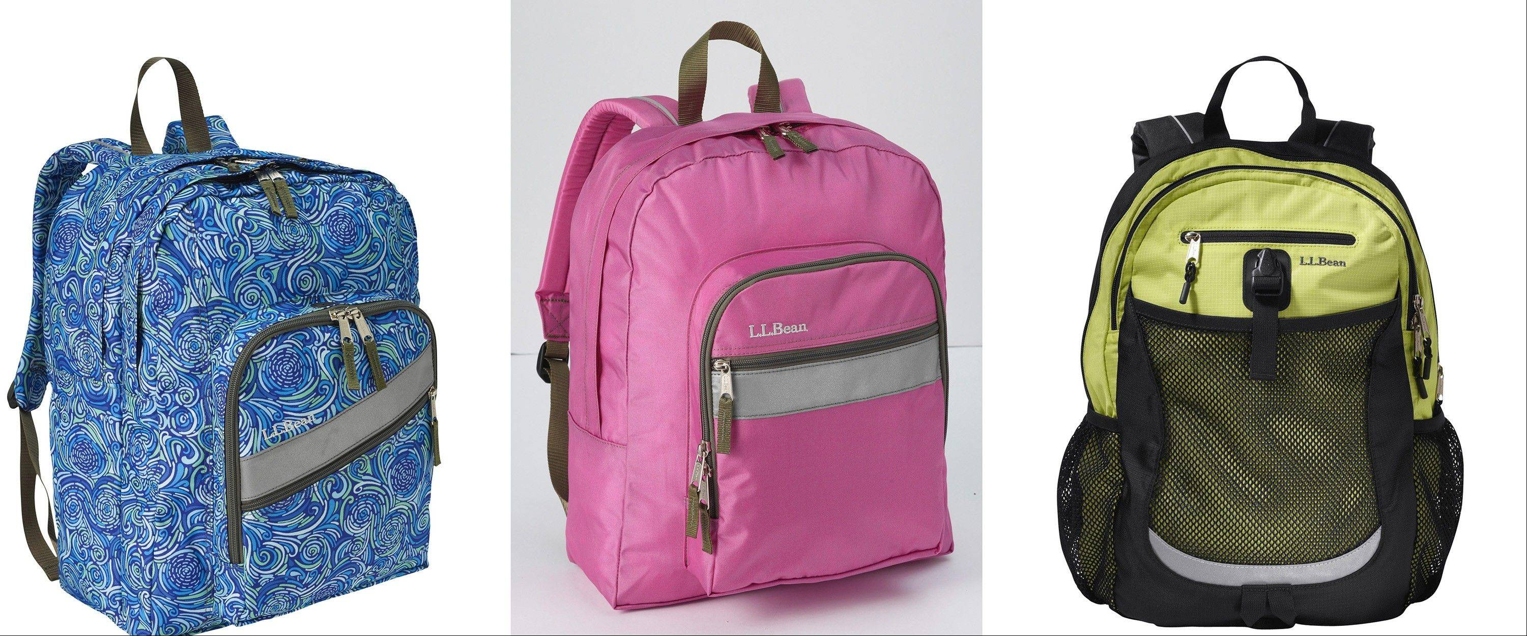 Backpacks at different price points, all from L.L. Bean: from left, Deluxe Book Pack for children age 10 and older, $39.95; the Original Back Pack for children age 7 and older, $34.95; and the Sport Pack, for children age 9 and older, $49.95.