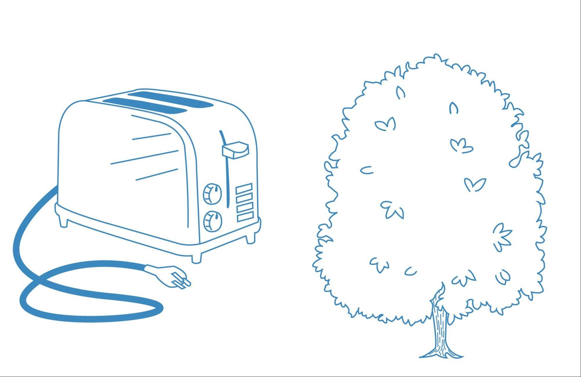 Unused appliances such as toasters can make up 10-15% of your bill (left); properly selected and planted shade trees can save up to $80 annually on the average electric bill (right). Sources: EPA and Pepco.