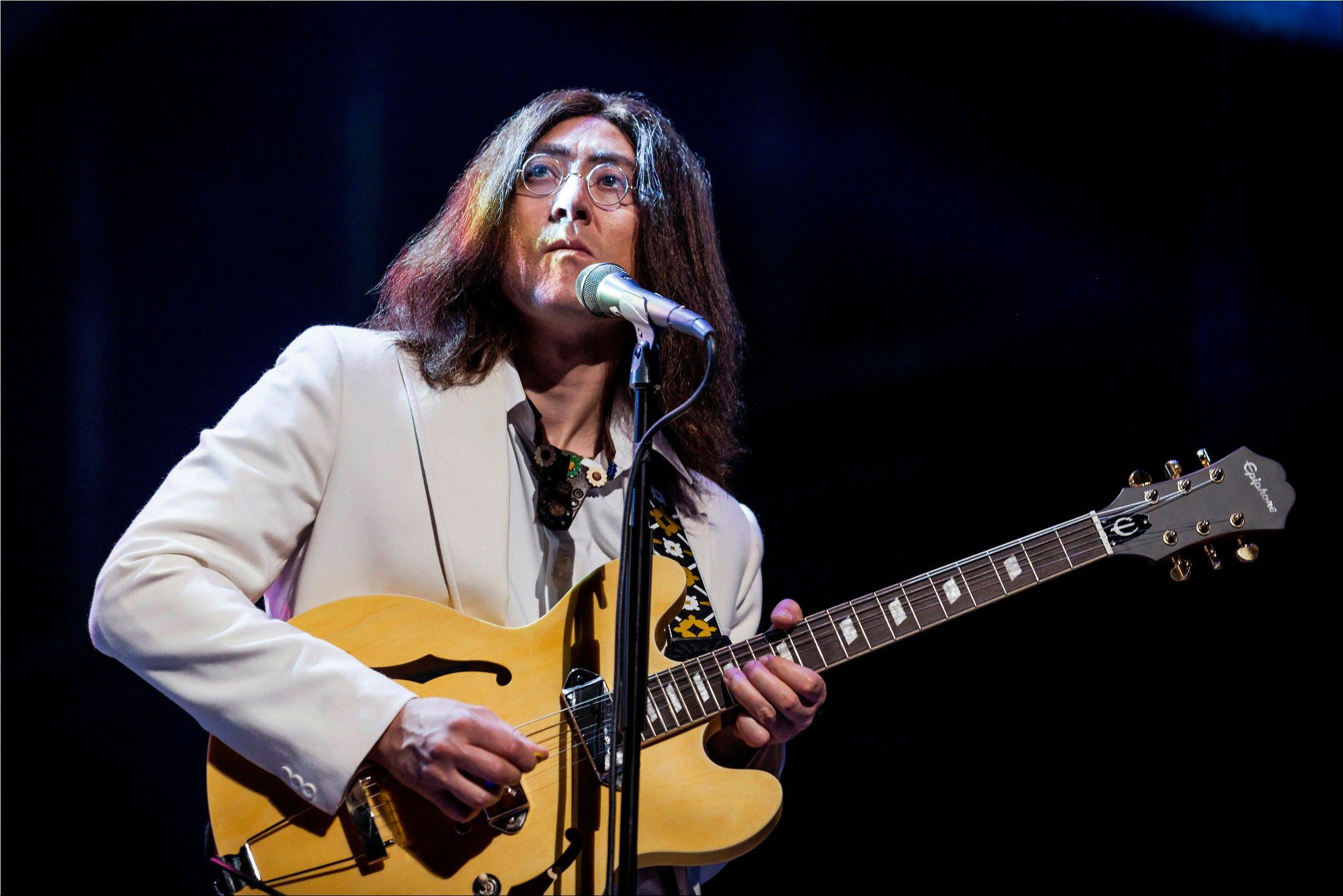 "Reuven Gershon performs ""Come Together"" in the rock musical ""Let It Be"" at the St. James Theater in New York."