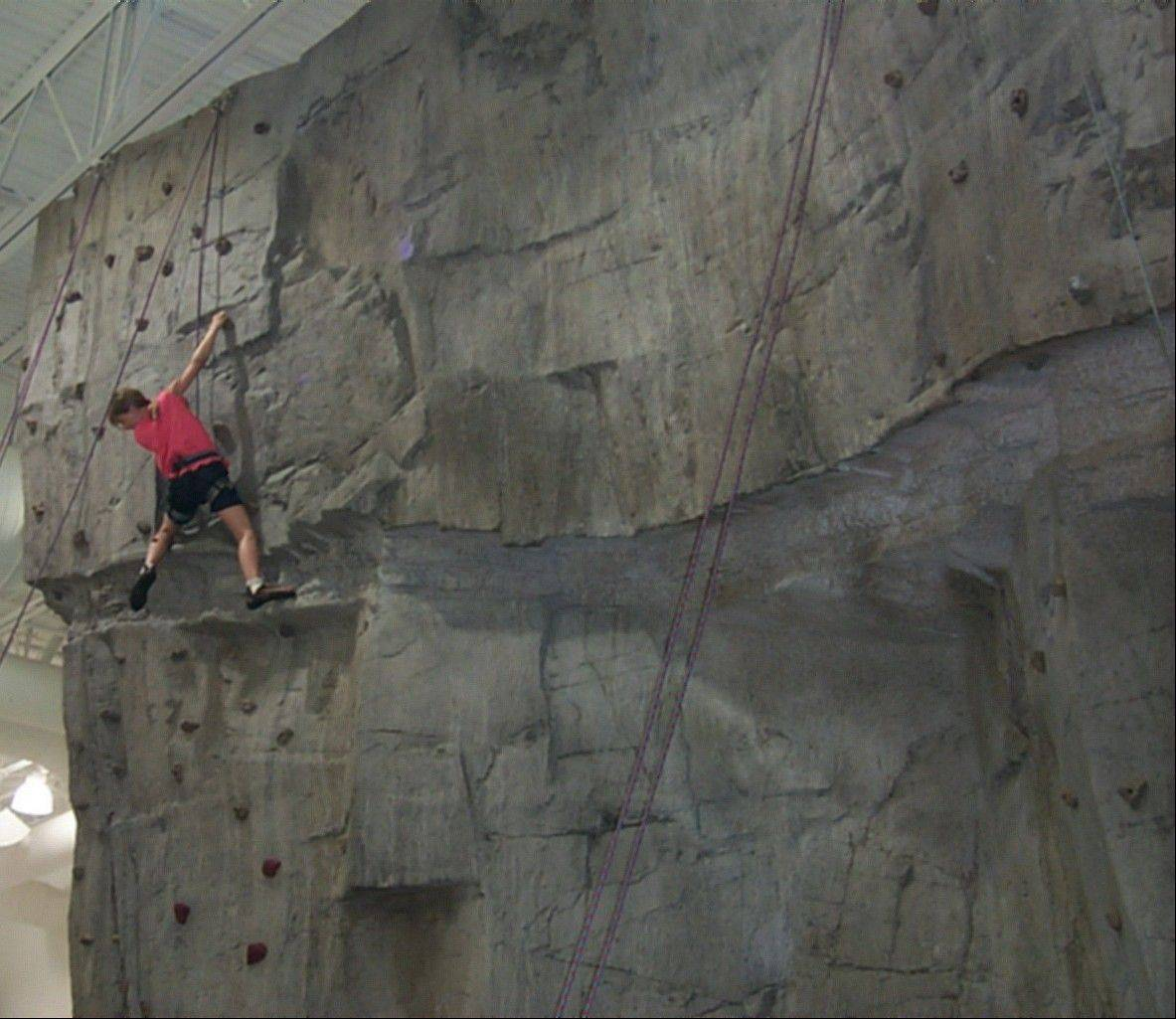 The rock wall at the Libertyville Sports Complex offers both manual and auto-belay routes.