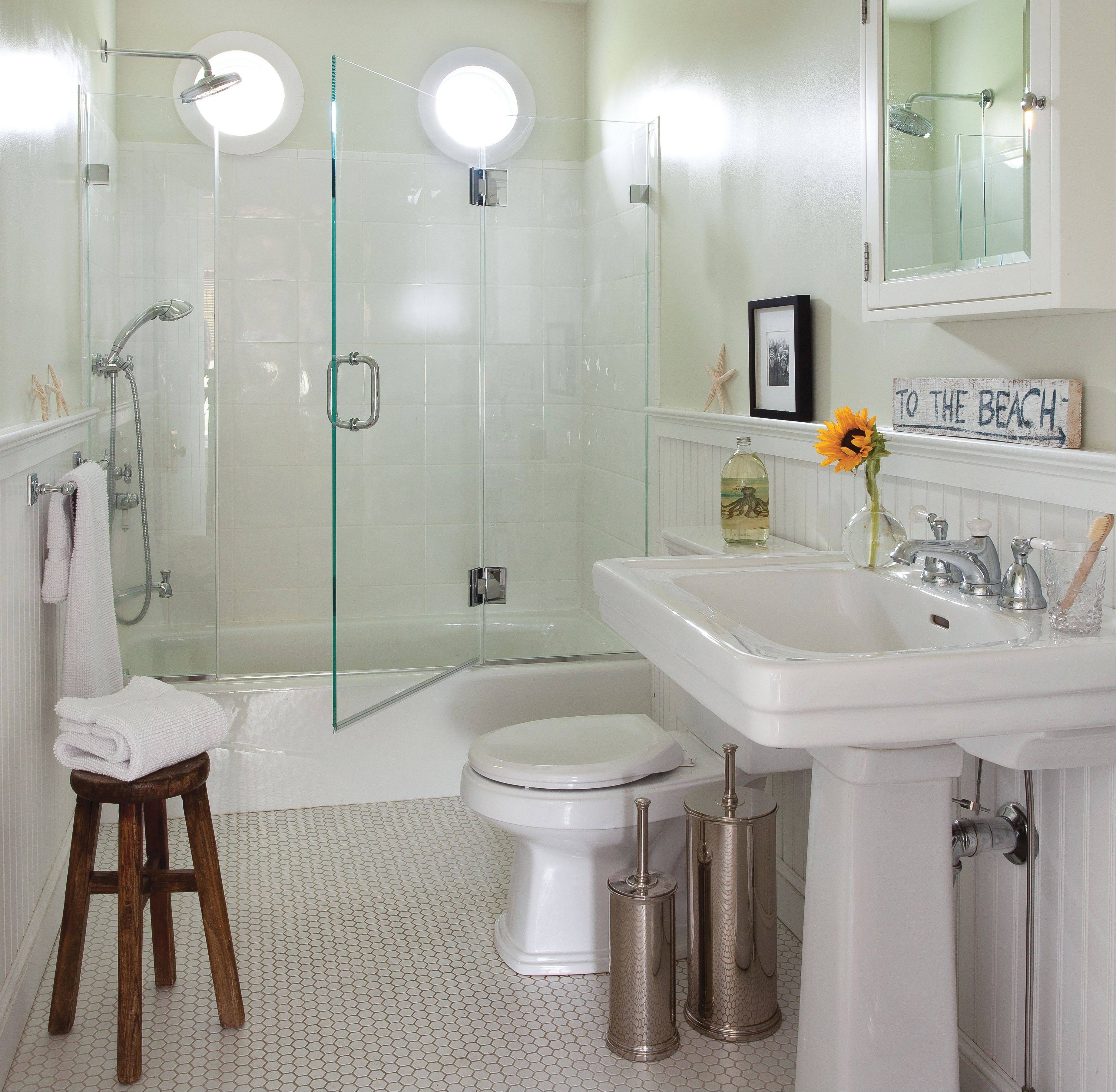 Wall Mounted Sinks And Gray Grout, Pictured, Are Design Choices That Make It