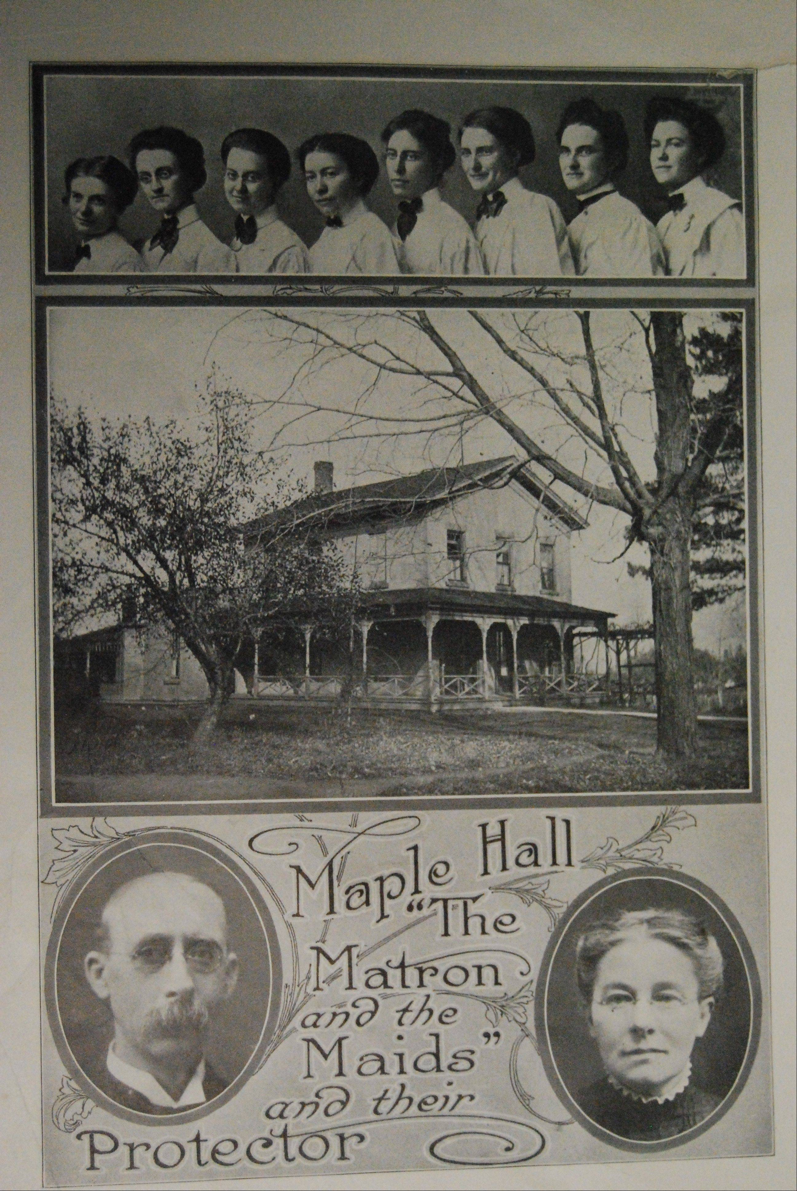Deacon White, bottom left, and his wife Marium, bottom right, were the head residents at the Maple Hall women's dormitory at Mendota College, an Advent Christian school in Mendota. The school later moved to Aurora and became Aurora University.
