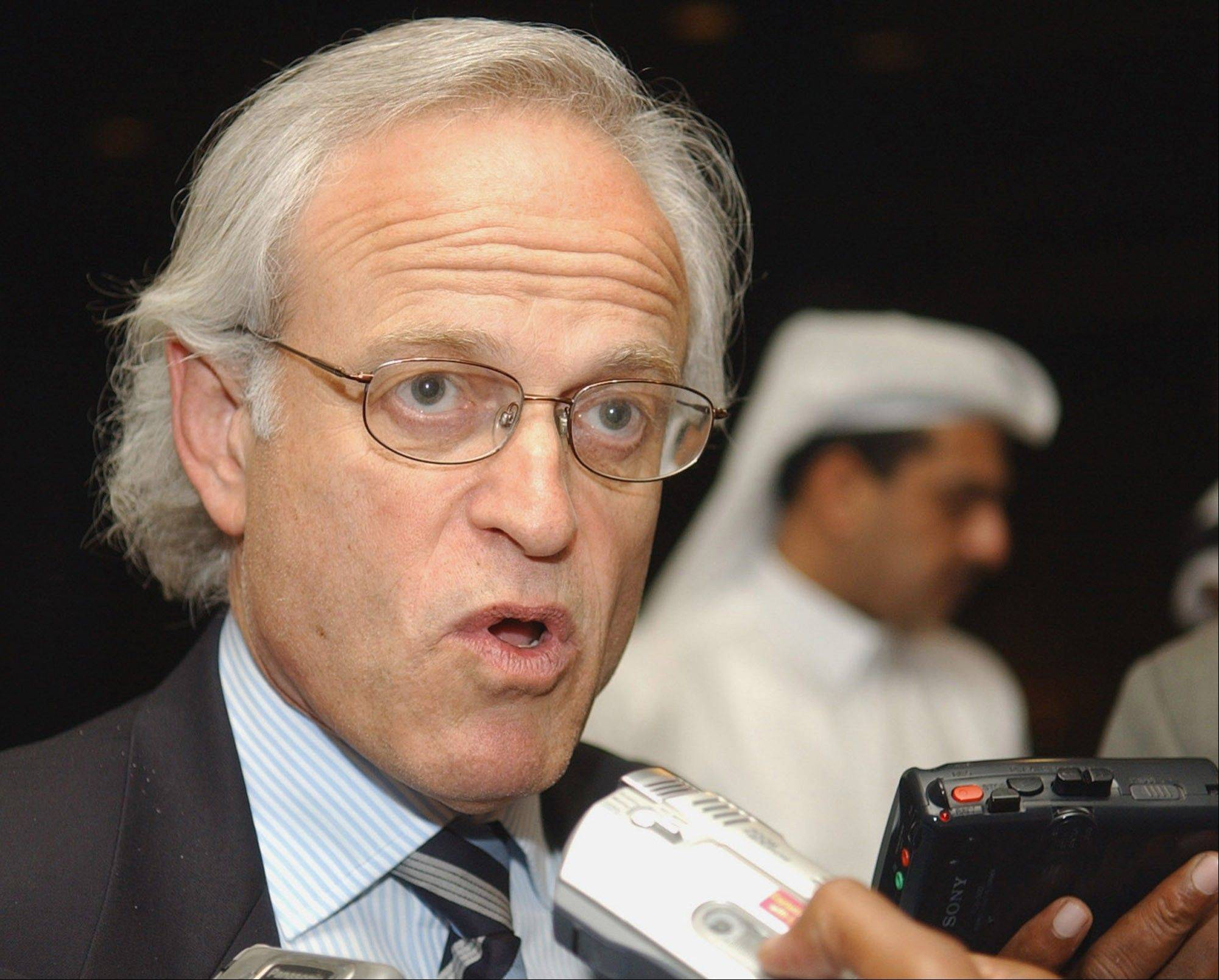 In this April 11, 2005 file photo, Martin Indyk speaks in Doha, Qatar. Secretary of State John Kerry appointed Indyk to shepherd Israeli-Palestinian peace talks that begin Monday evening in Washington.