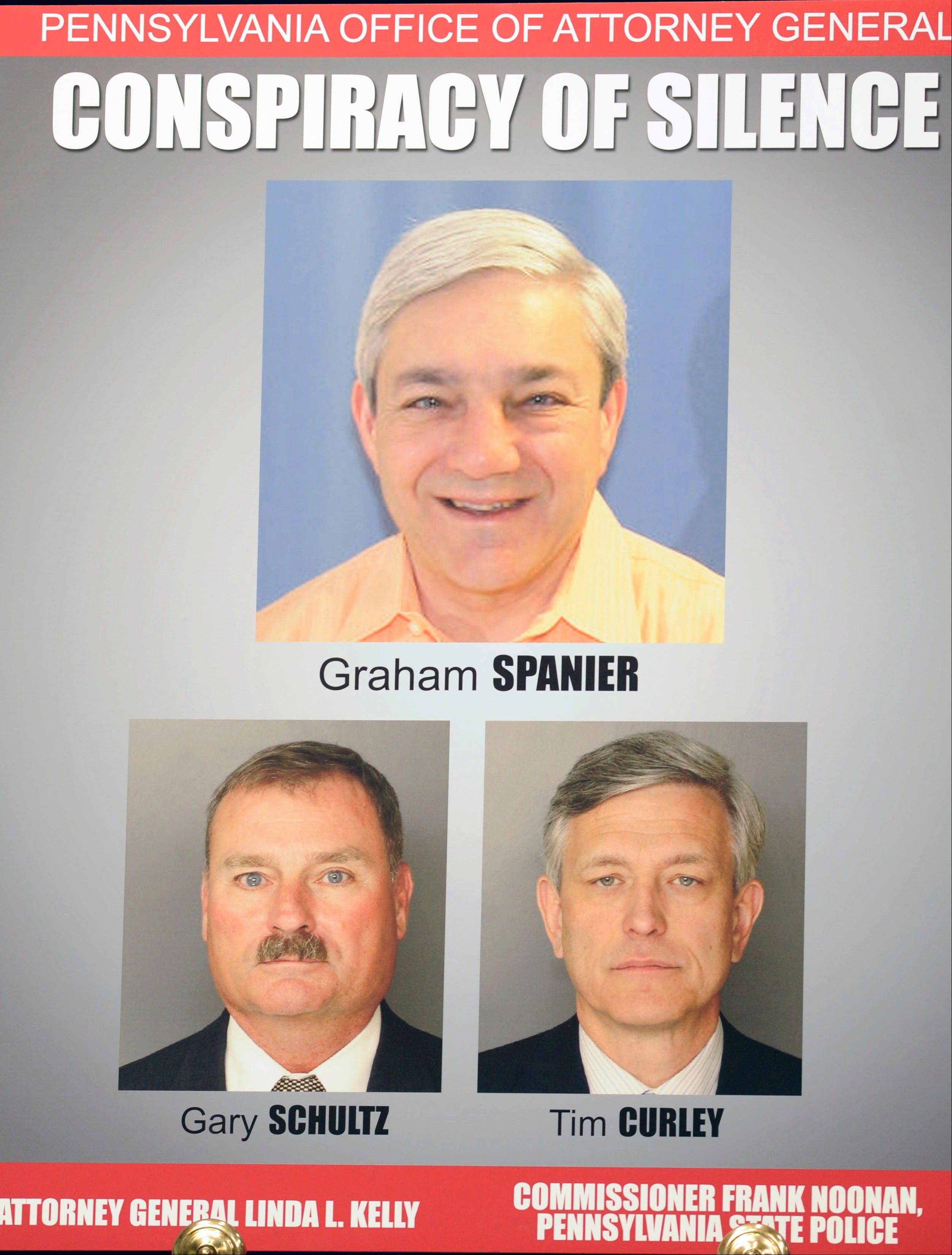The Pennsylvania Office of Attorney General shows a poster with images of former Penn State President Graham Spanier, top, retired university vice president Gary Schultz, bottom left, and former athletic director Timothy Curley. The question of what exact situation the three men were discussing in a Feb. 27, 2001, email will go before a judge Monday to determine whether Spanier, Schultz and Curley must face trial on charges they covered up an allegation that Jerry Sandusky was sexually preying on boys.