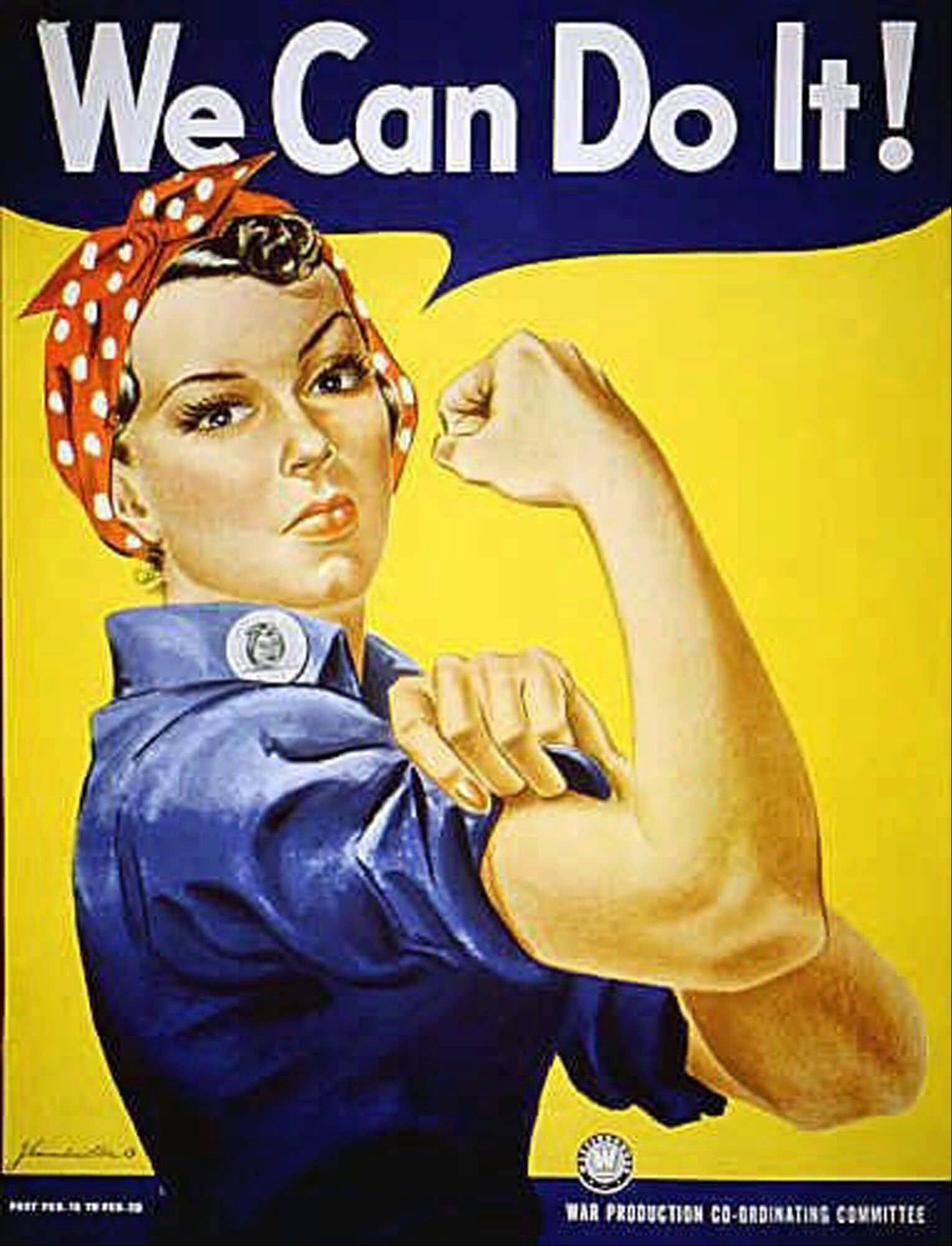 """Rosie the Riveter"" dressed in overalls and bandanna was introduced as a symbol of patriotic womanhood in the 1940's. Rose Will Monroe played ""Rosie the Riveter,"" the nation's poster girl for women joining the work force during World War II."