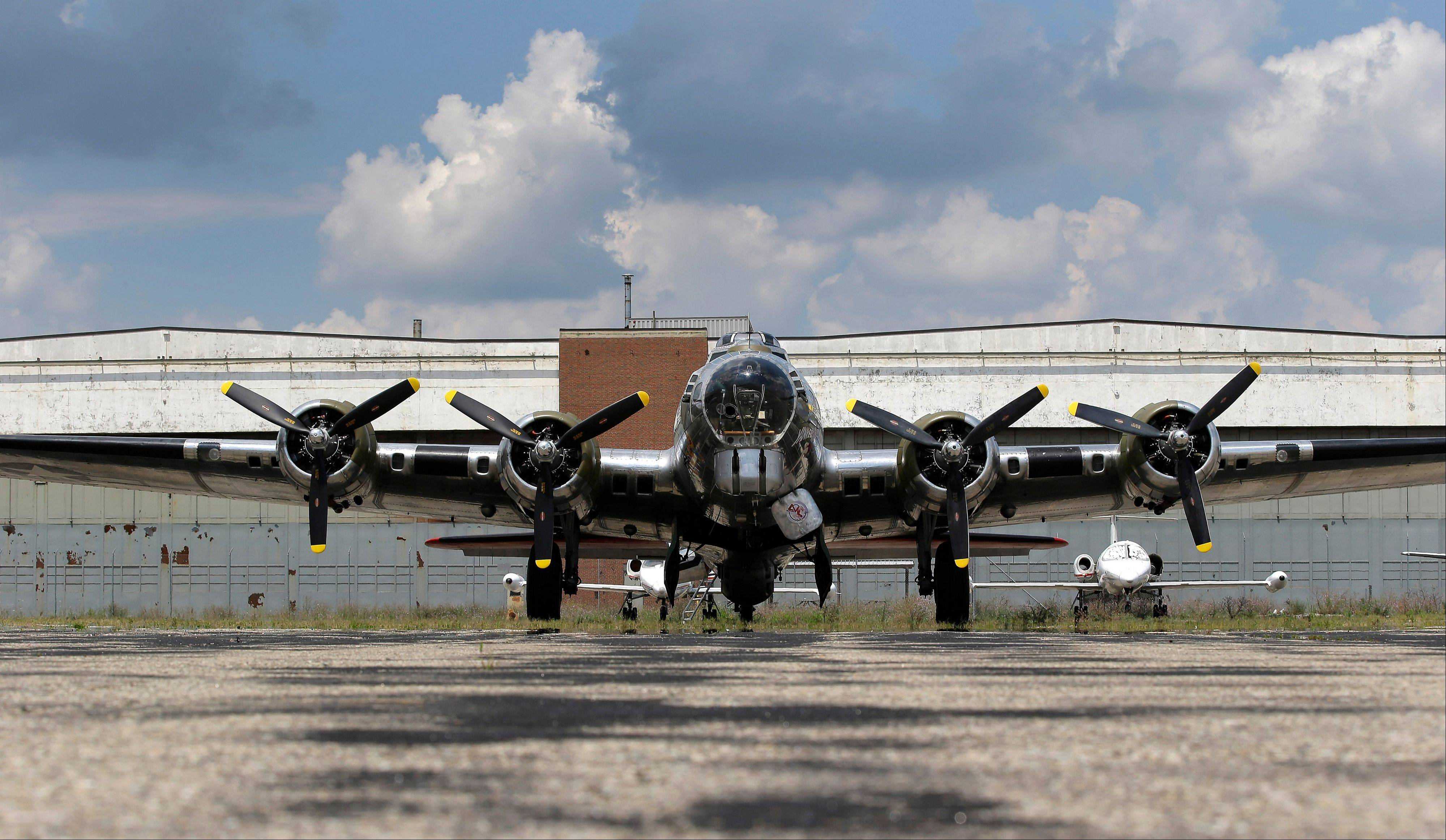 "The B-17G ""Yankee Lady"" in front of the old Willow Run Bomber Plant at Willow Run Airport in Ypsilanti Township, Mich."