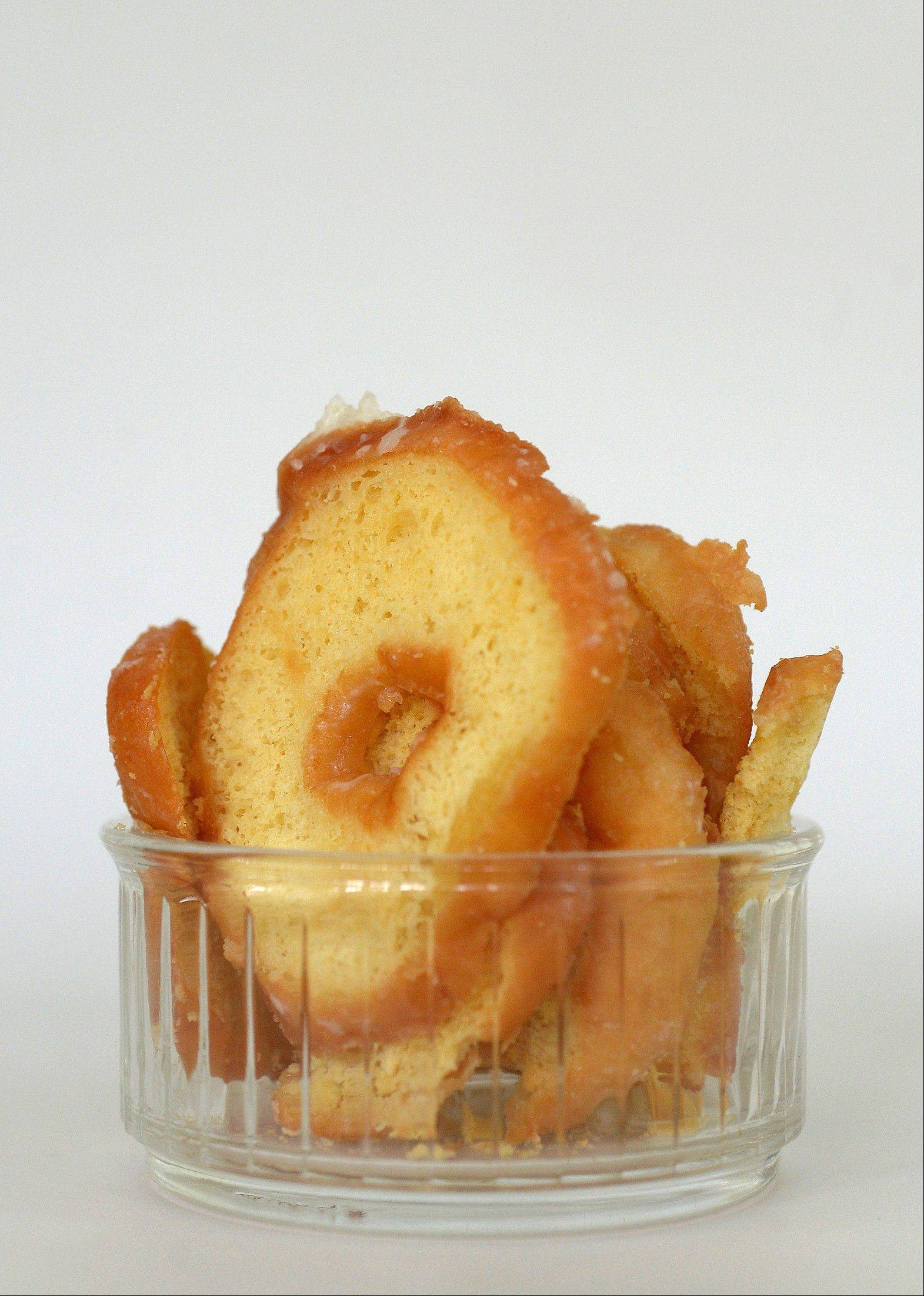 Doughnut crisps are one way to use up leftover doughnuts.