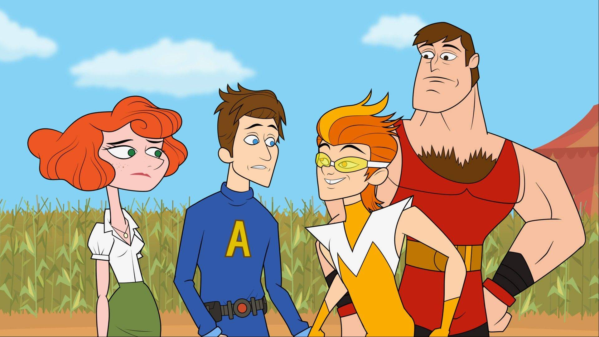 "Characters from ""The Awesomes,"" from left, Concierge, voiced by Emily Spivey, Prock, voiced by Seth Meyers, Frantic, voiced by Taran Killam, and Muscleman, voiced by Ike Barinholtz. The animated series premieres Aug. 1, on Hulu."