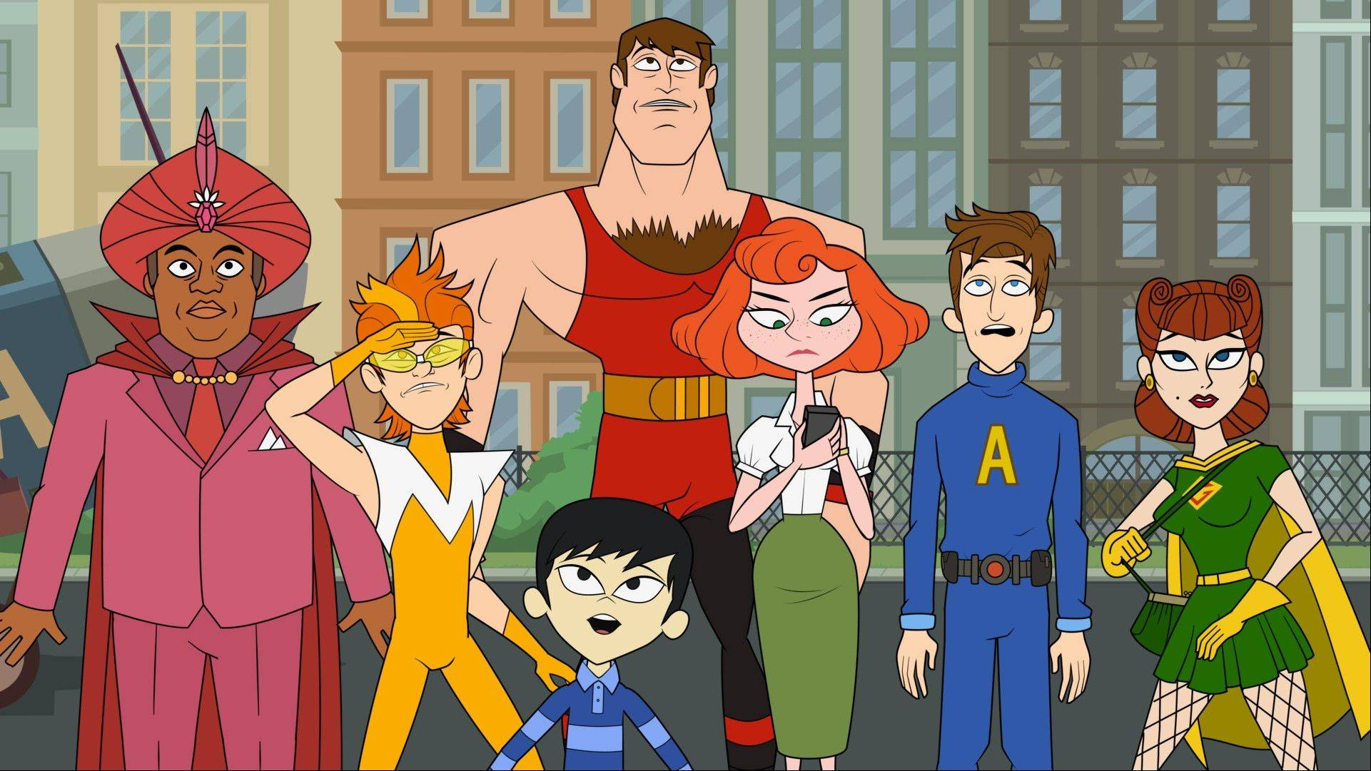 "Characters from the animated series ""The Awesomes,"" from left, Impresario, voiced by Kenan Thompson, Frantic, voiced by Taran Killam, Tim, aka Sumo, voiced by Bobby Lee, foreground, Muscleman, voiced by Ike Barinholtz, Concierge, voiced by Emily Spivey, Prock, voiced by Seth Meyers and Gadget Gal, voiced by Paula Pell. The animated series premieres Aug. 1 on Hulu."