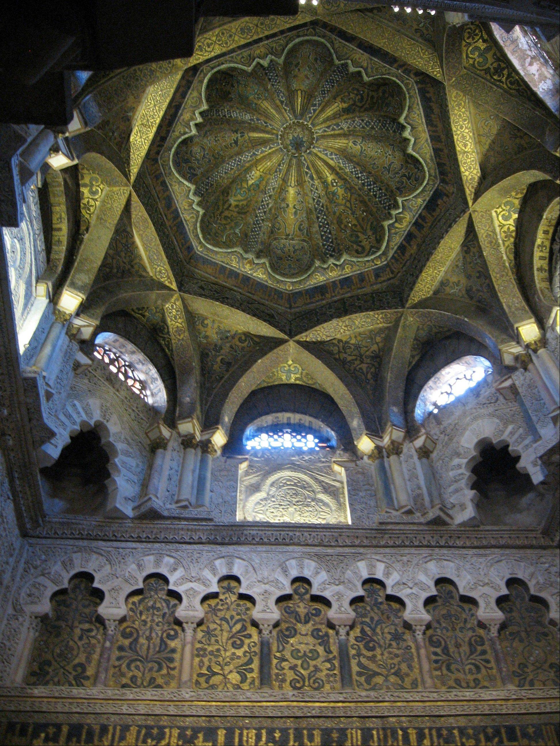 Mosaics cover a vault in the Mezquita, in Cordoba, in Andalusia, Spain, now the city's cathedral, which originated as a mosque when the city was the center of Islamic Europe a thousand years ago.