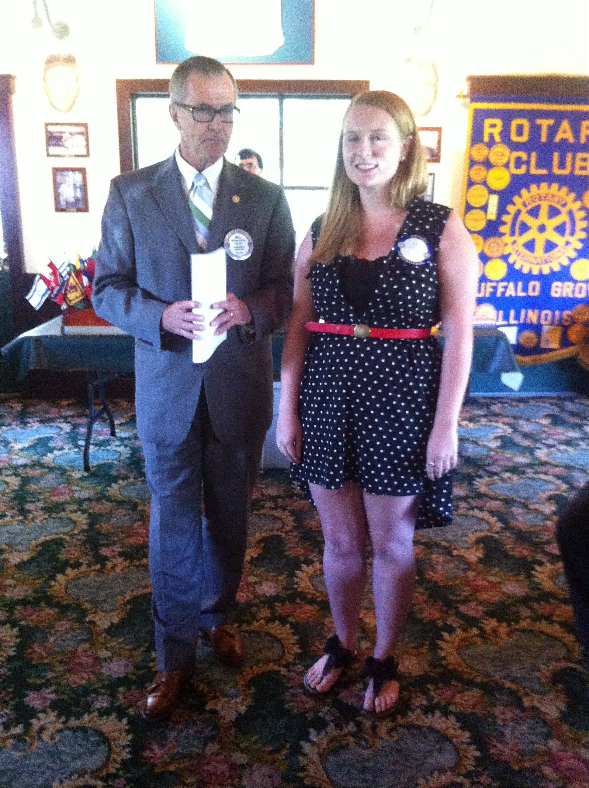 Bill Balling, Rotary Club of Buffalo Grove, with scholarship recipient Jamie Hillner, a 2013 Buffalo Grove High School graduate, at Lou Malnati's Restaurant.