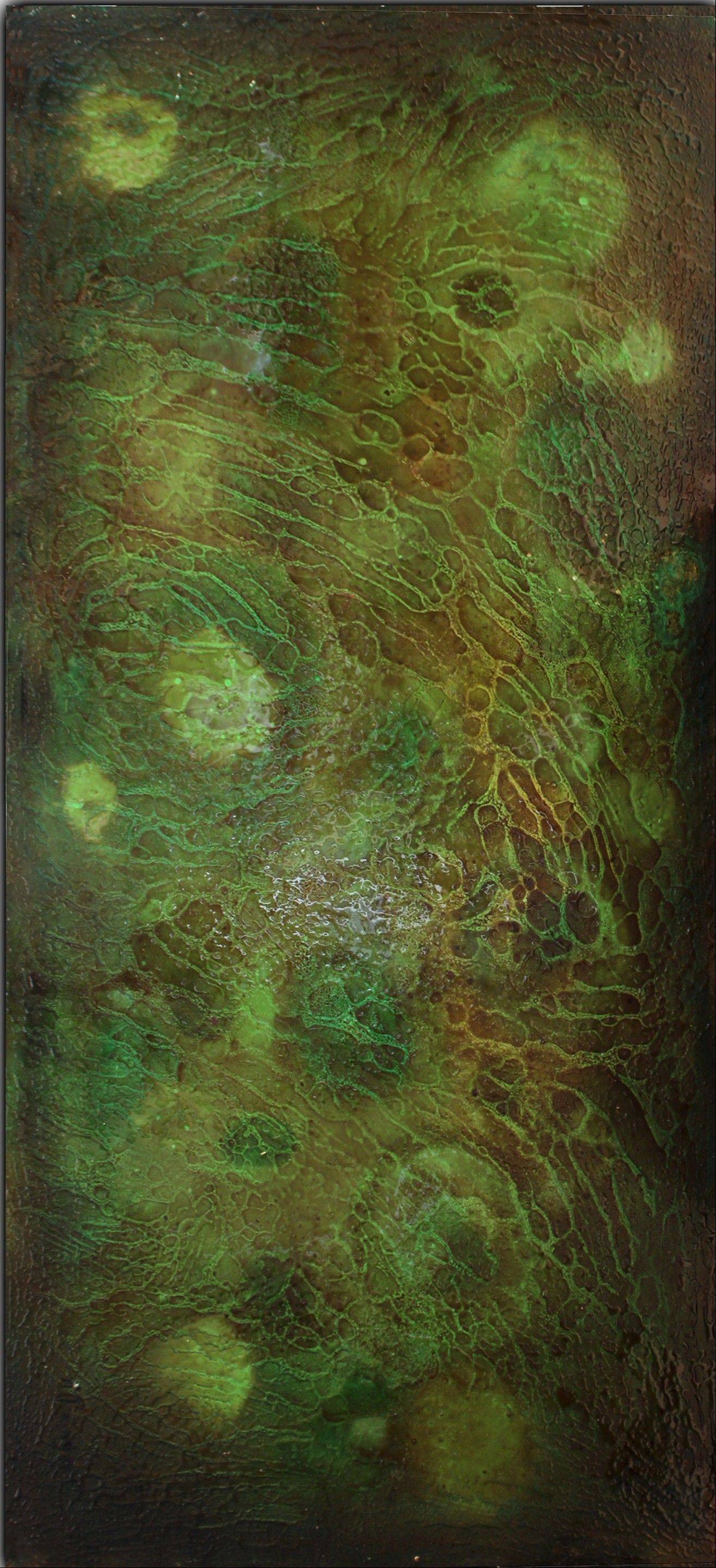 """Swamp,"" a 24-by-48-inch mixed media panel by Alberto Paniaya, represents a fragment of a swamp where insects live."